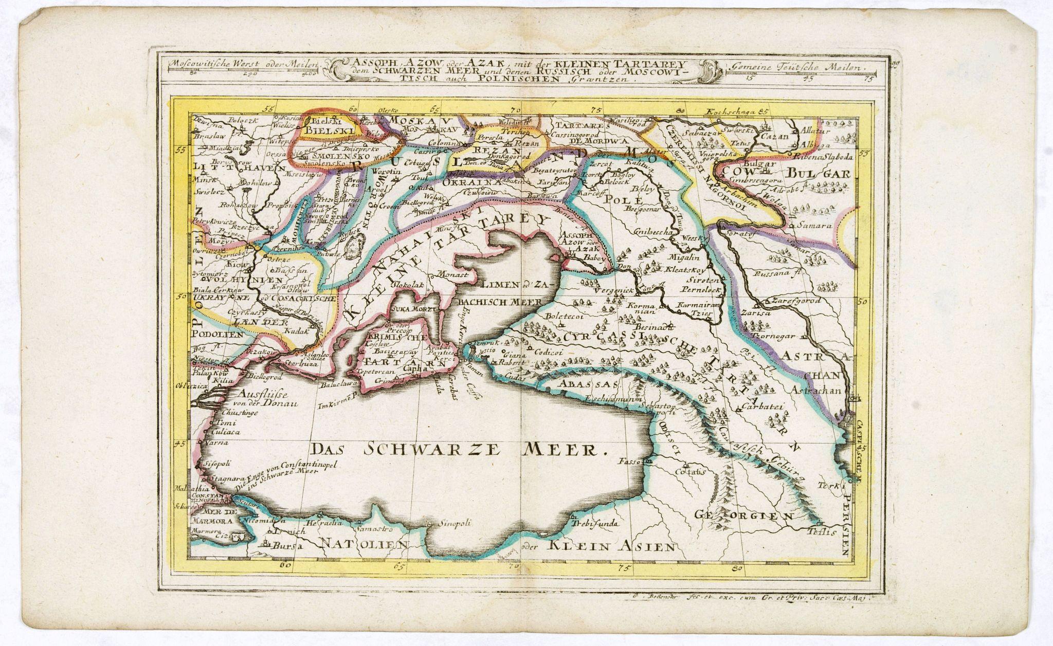 BODENEHR, G. -  Assoph, Asow, oder Azak mit der Kleinen Tartarey dem Scwharzen Meer. . .