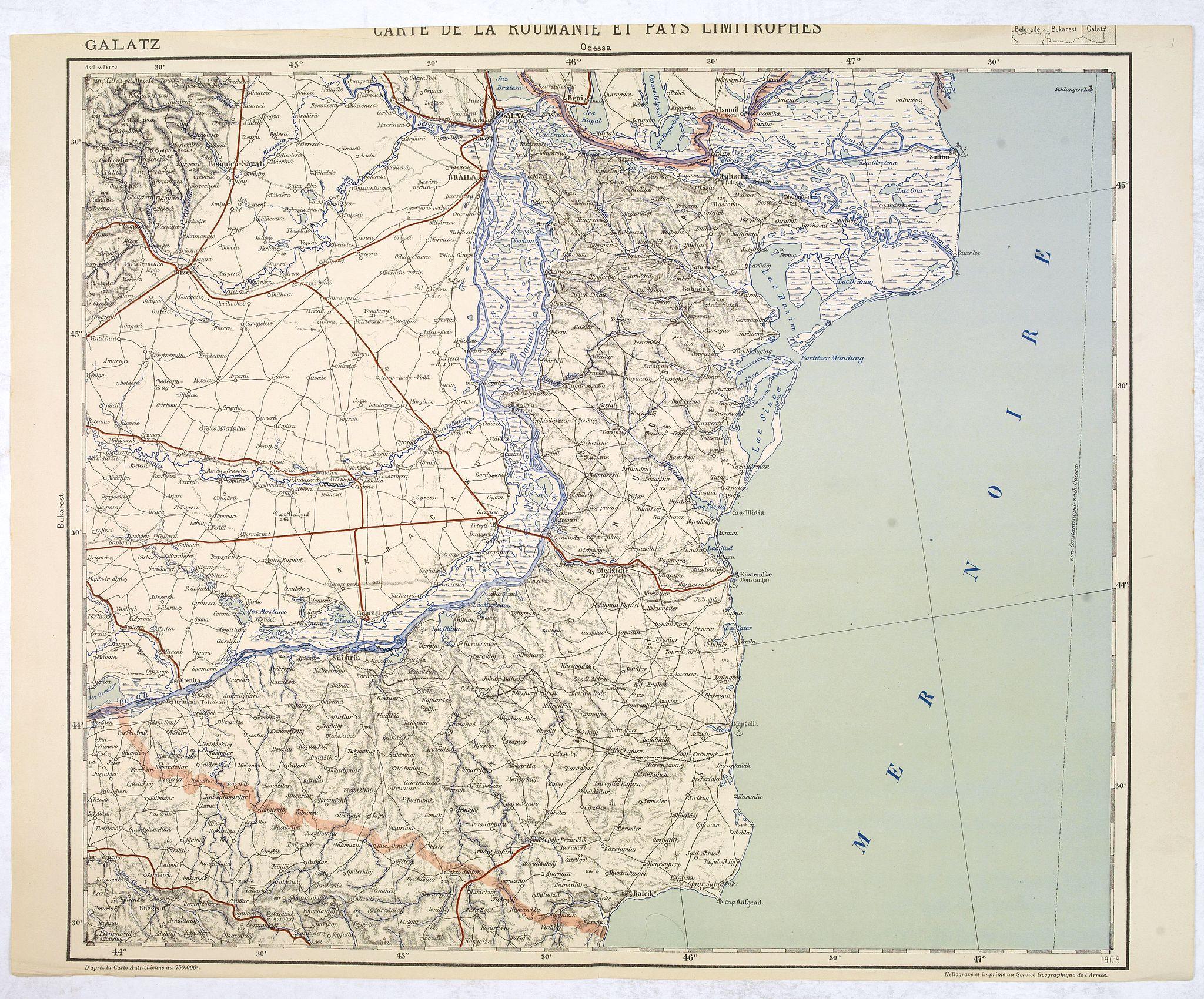SERVICE GEOGRAPHIQUE DE L'ARMEE. -  Carte de la Roumanie et Pays limitrophes. Odessa. GALATZ.
