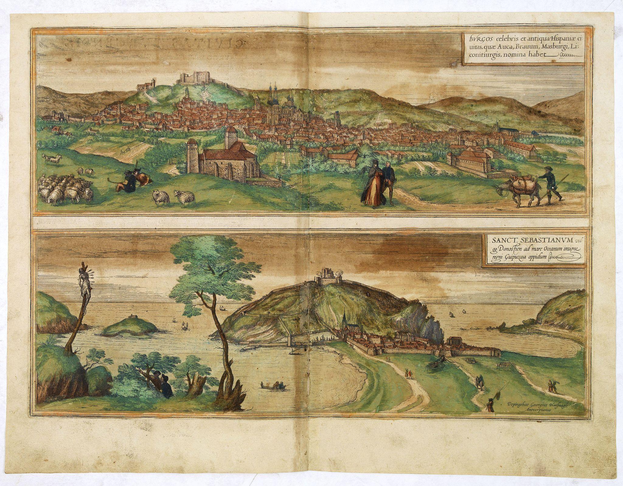 BRAUN,G. / HOGENBERG, F. -  Burgos celebris et antiqua Hispaniae civitas, . . . [on sheet with] Sanct. Sebastianum vulgo Donosien ad Occanum . . .