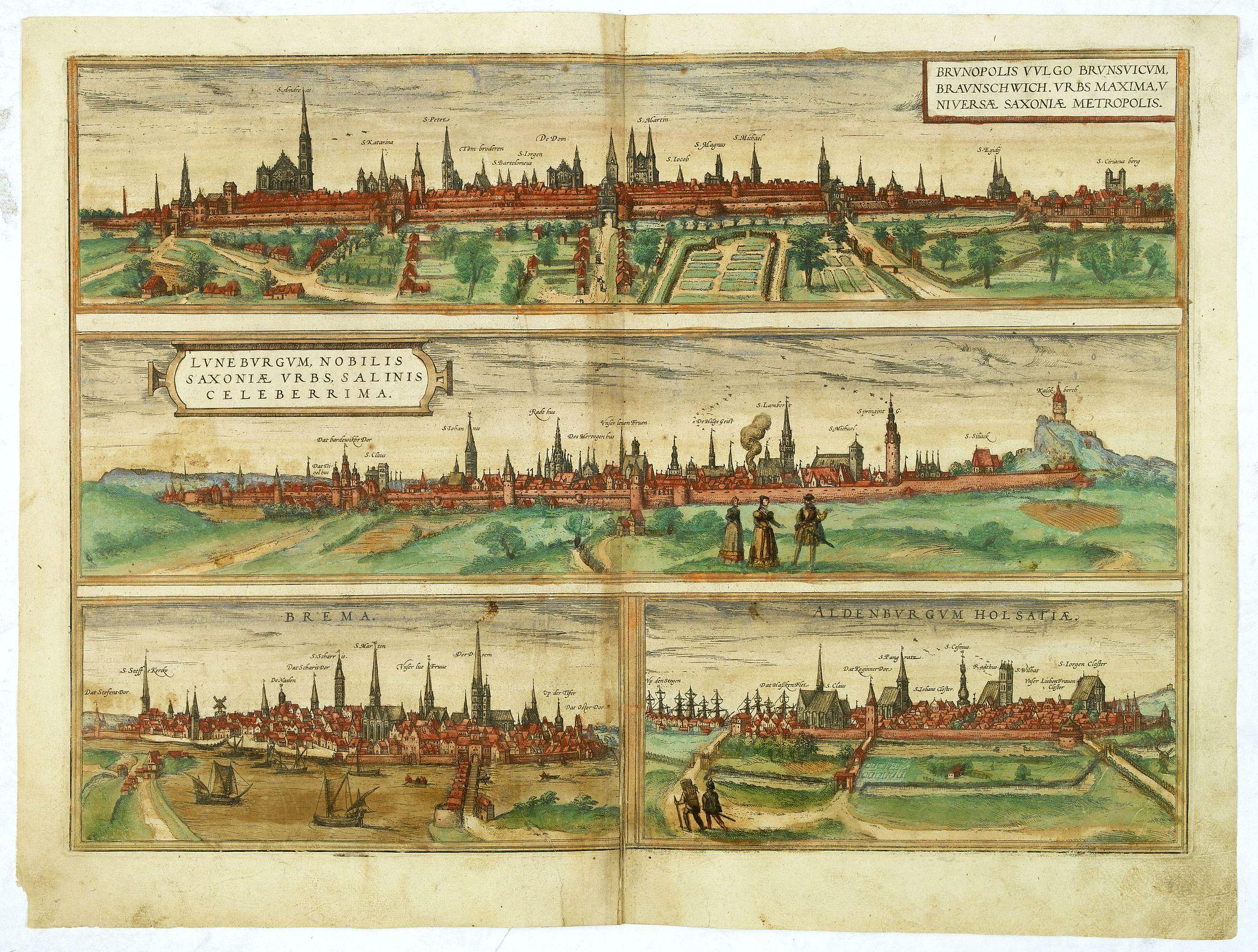 BRAUN,G. / HOGENBERG, F. -  Brunopolis vulgo Brunsvicum, ... [on sheet with] Luneburgum, Nobilis Saxoniae Urbs, ... [and] Brema [and] Aldenburgum Holsatiae