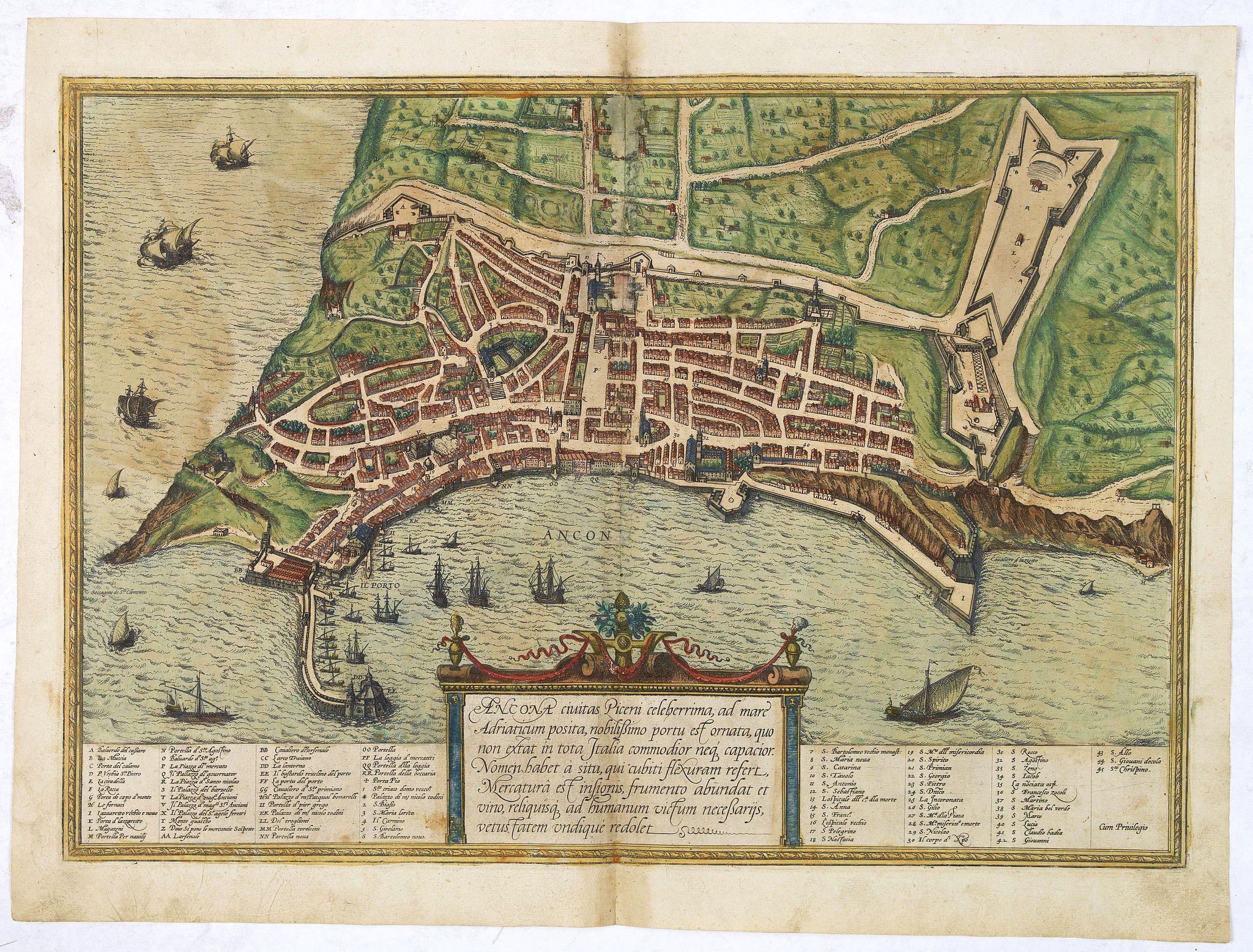BRAUN,G. / HOGENBERG, F. -  Ancona Civitas Piceni Celeberrima, ad Mare Adriaticum Posita . . .