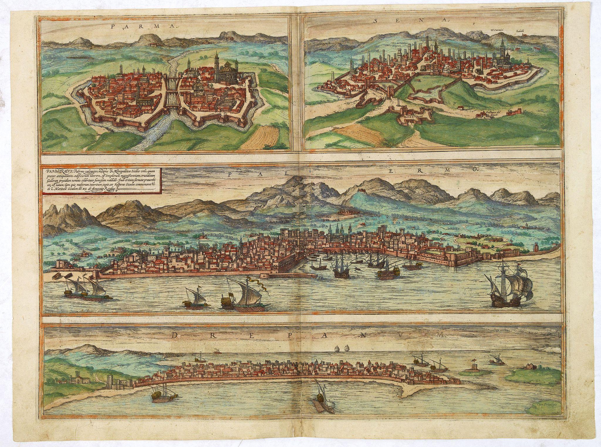 BRAUN,G. / HOGENBERG, F. -  Parma [on sheet with] Sena [and] Panhormus, Palermo vulgariter, ... [and] Drepanum (Trapani)