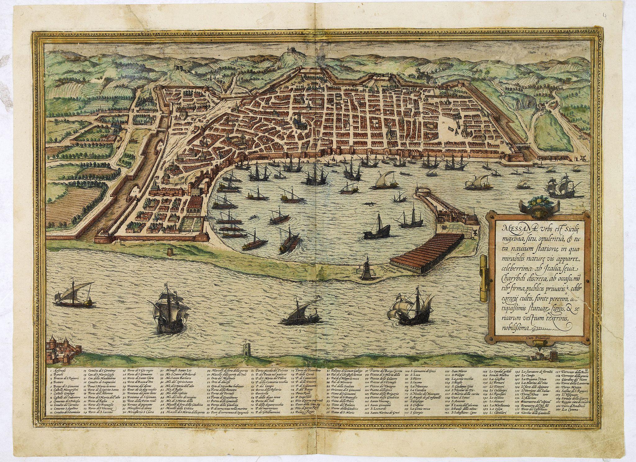 BRAUN,G. / HOGENBERG, F. -  Messana, Urbs est Sicilie maxima, situ, opulentia, & tuta navium statione.