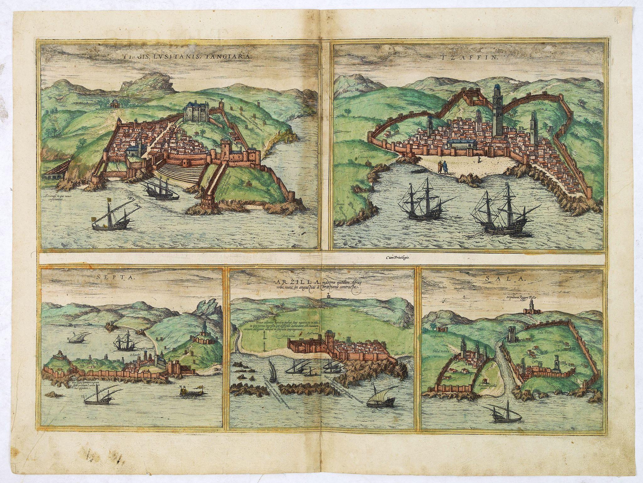 BRAUN,G. / HOGENBERG, F. -  Tingis Lusitanis Tangiara [on sheet with] Tzaffin [and] Septa [and] Arzilla [and] Sala.