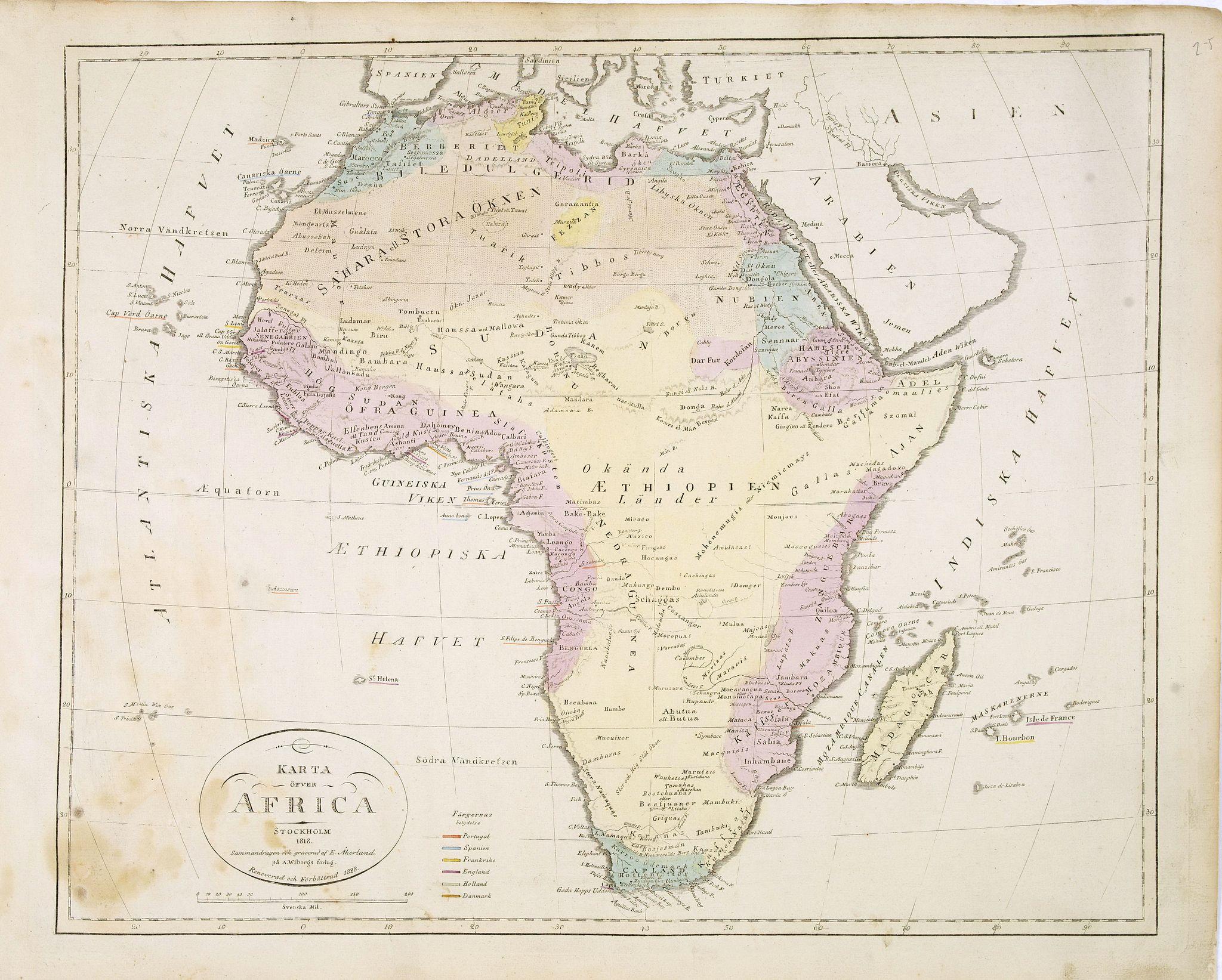 ÅKERLAND, E -  Karta öfver Africa.