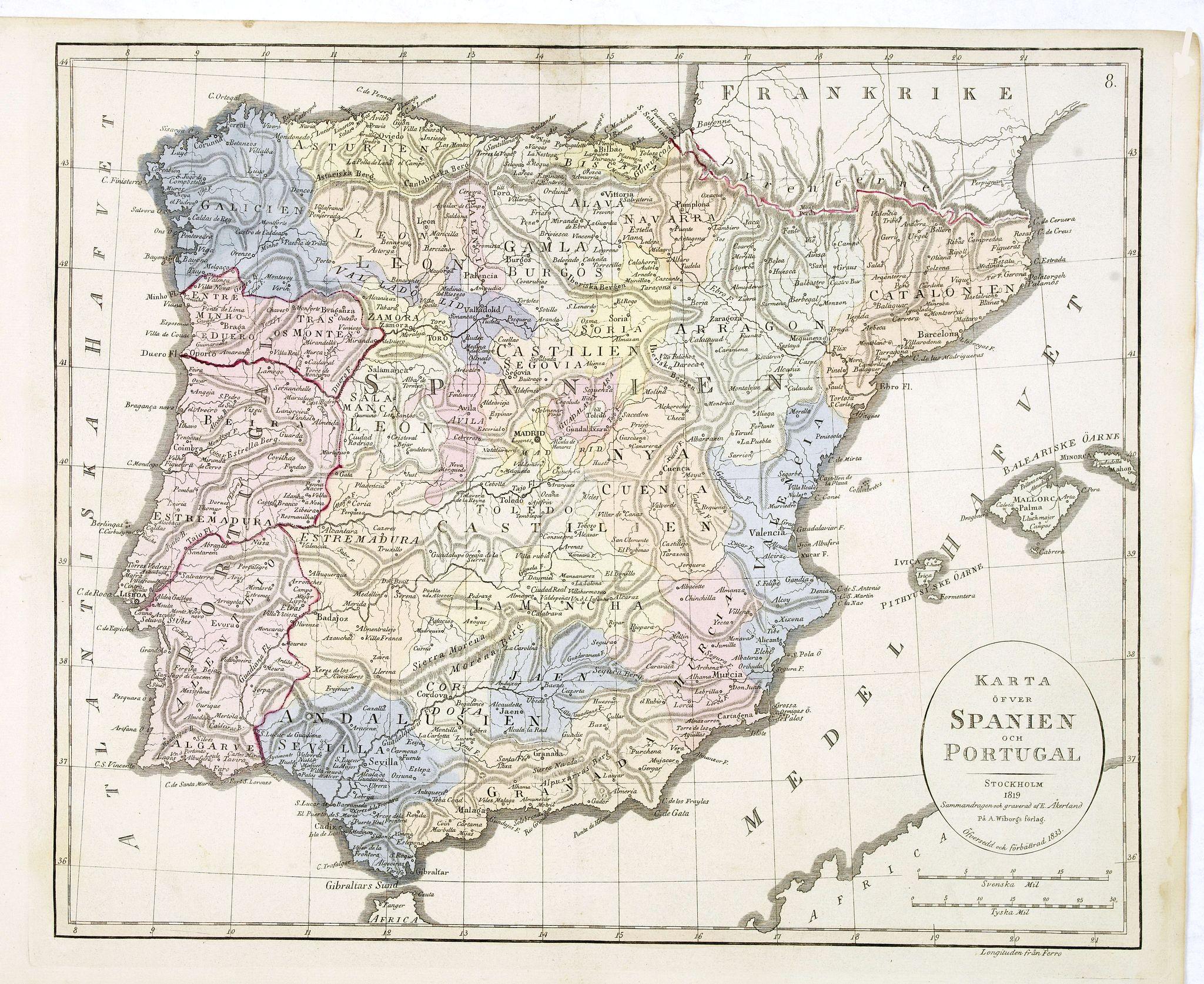 ÅKERLAND, E -  Karta öfver Spanien och Portugal.