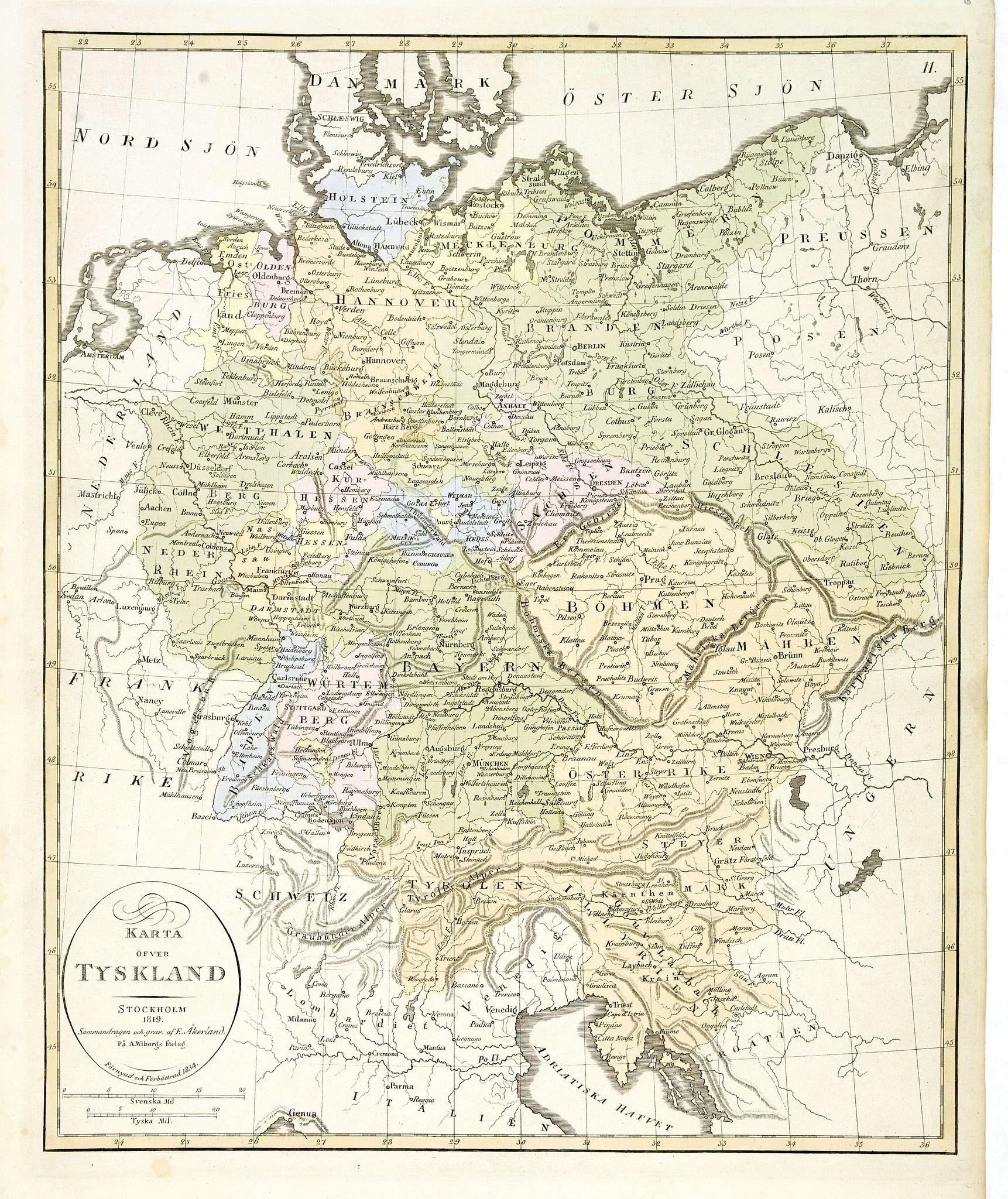 ÅKERLAND, E -  Karta öfver Tyskland.