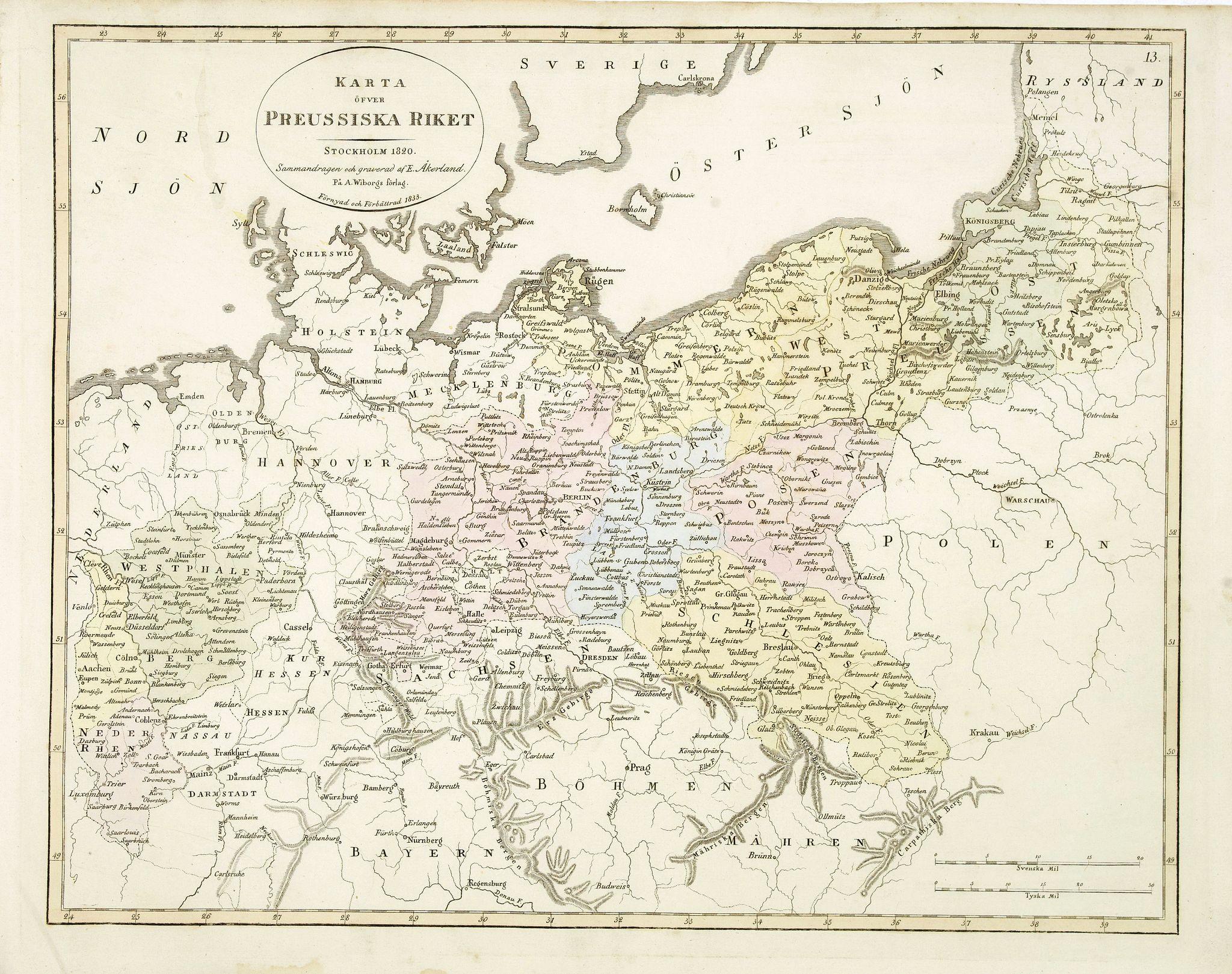 ÅKERLAND, E. -  Karta öfver Preussiska riket.