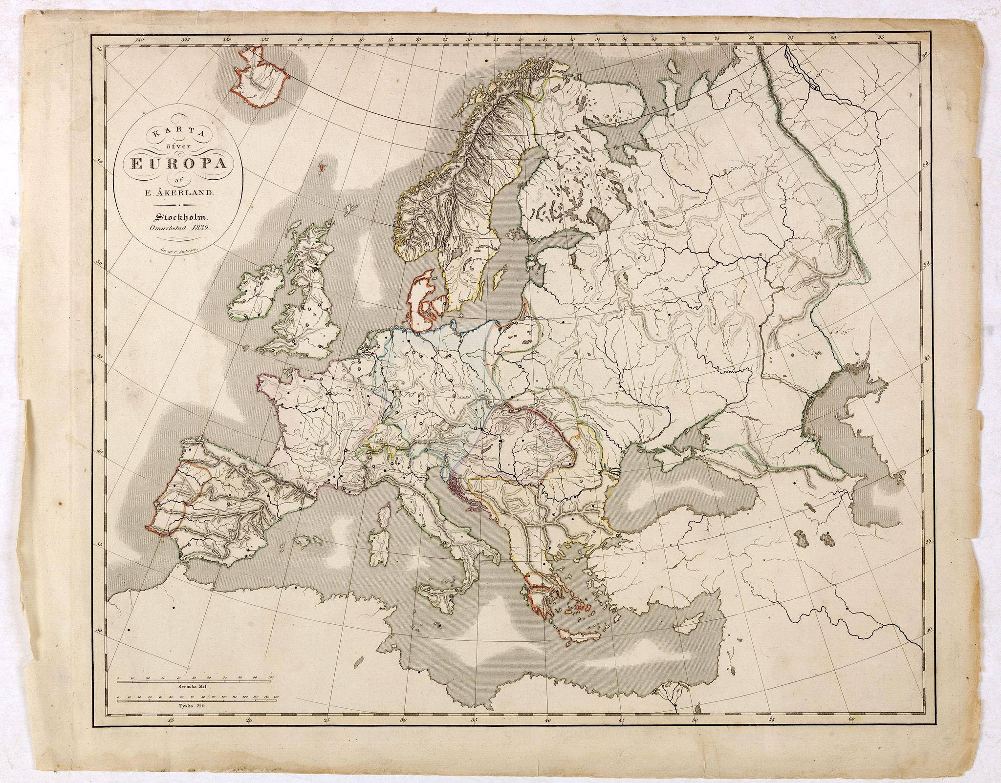 ÅKERLAND, E. -  Karta öfver Europa.
