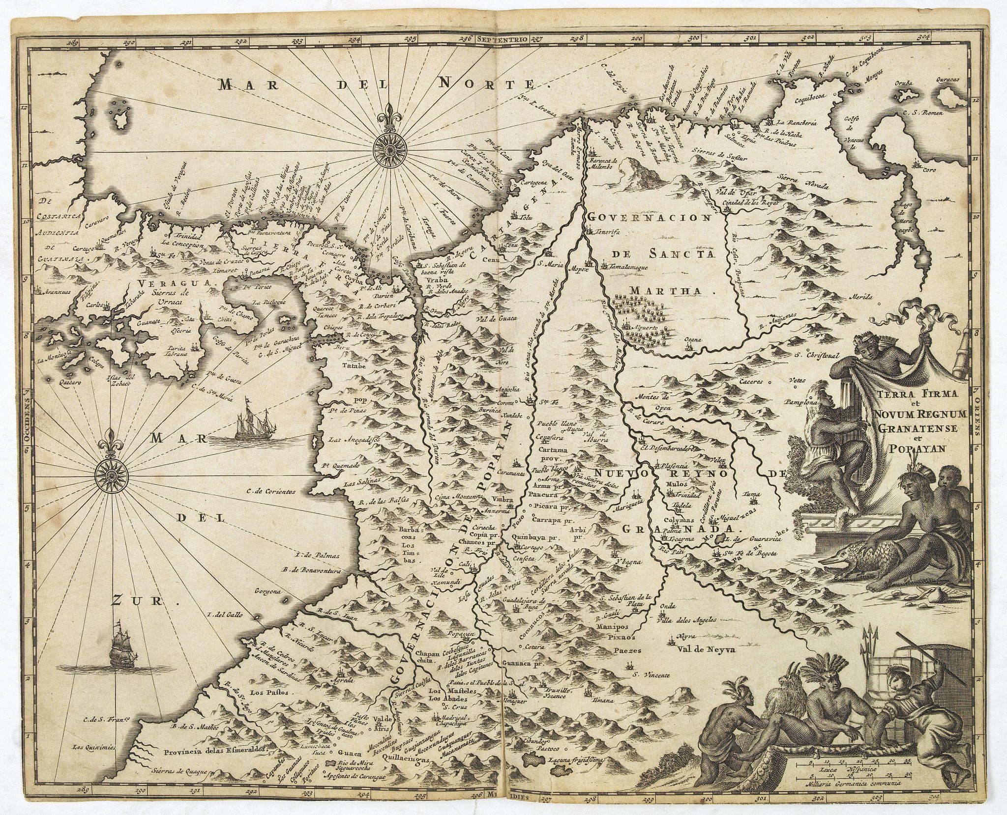 MONTANUS, A. -  Terra Firma et Novum Regnum Granatense et Popayan.