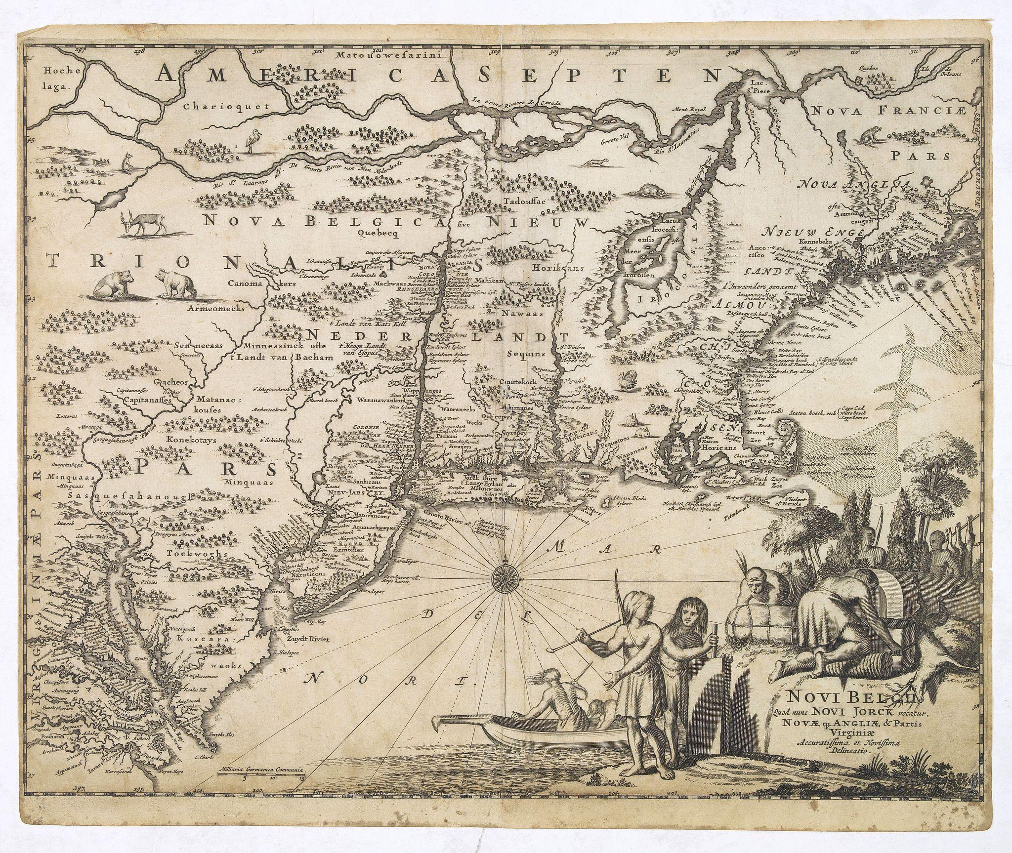 MONTANUS, A. -  Novi Belgii, quod nunc Novi Jorck vocatur, Novaeque Anglia et partis Virginiae. . .
