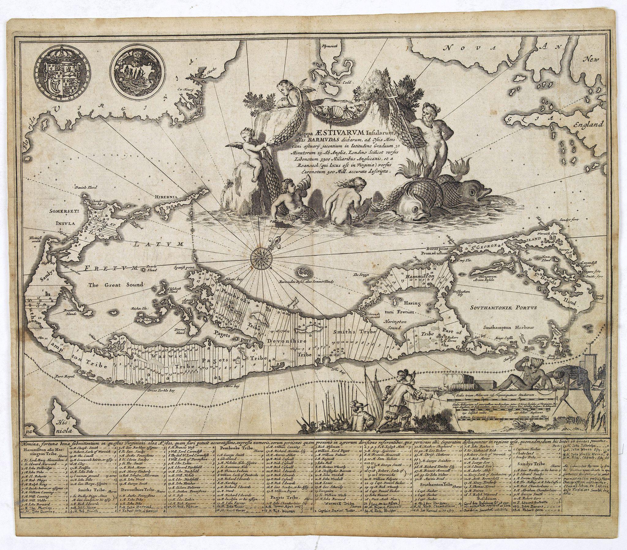 MONTANUS, A. - Mappa Aestivarum Insularum alias Barmudas. . .