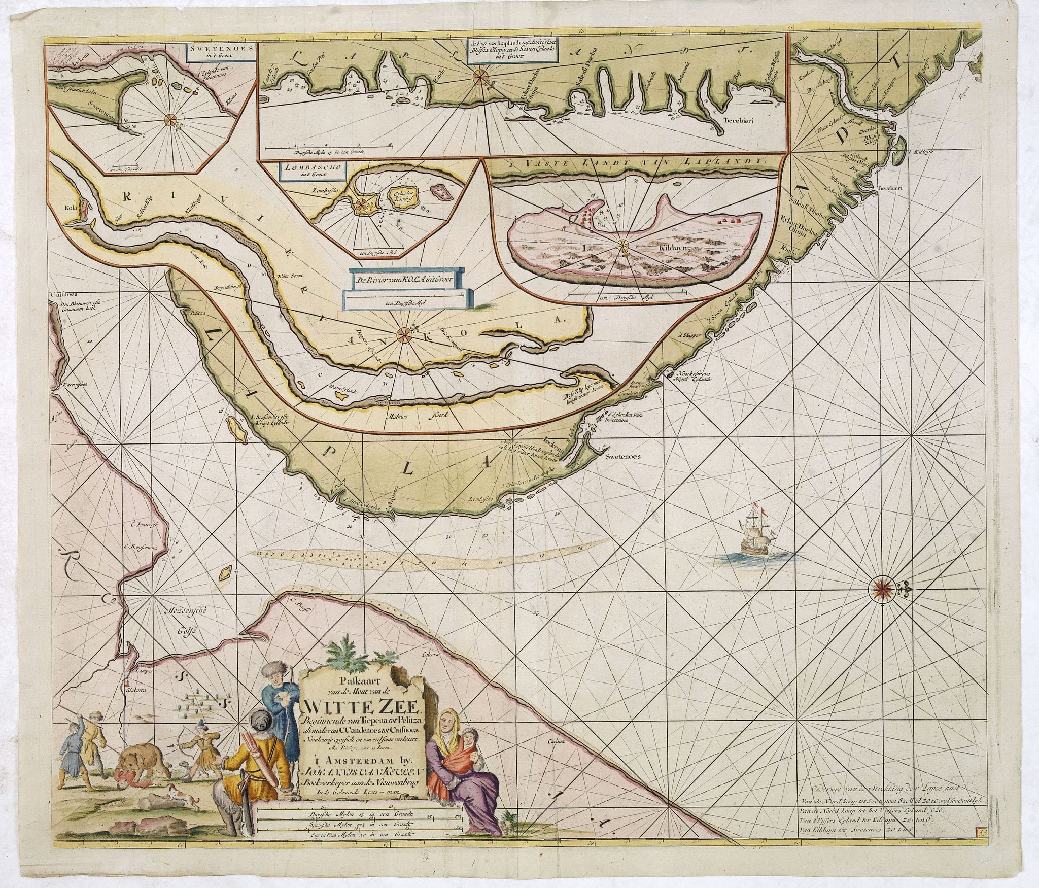 VAN KEULEN, J. -  Paskaart van de Mont van de Witte Zee,. Beginnende van Tiepena tot Pelitza, als mede van C. Cindenoes tot Catsnoes.
