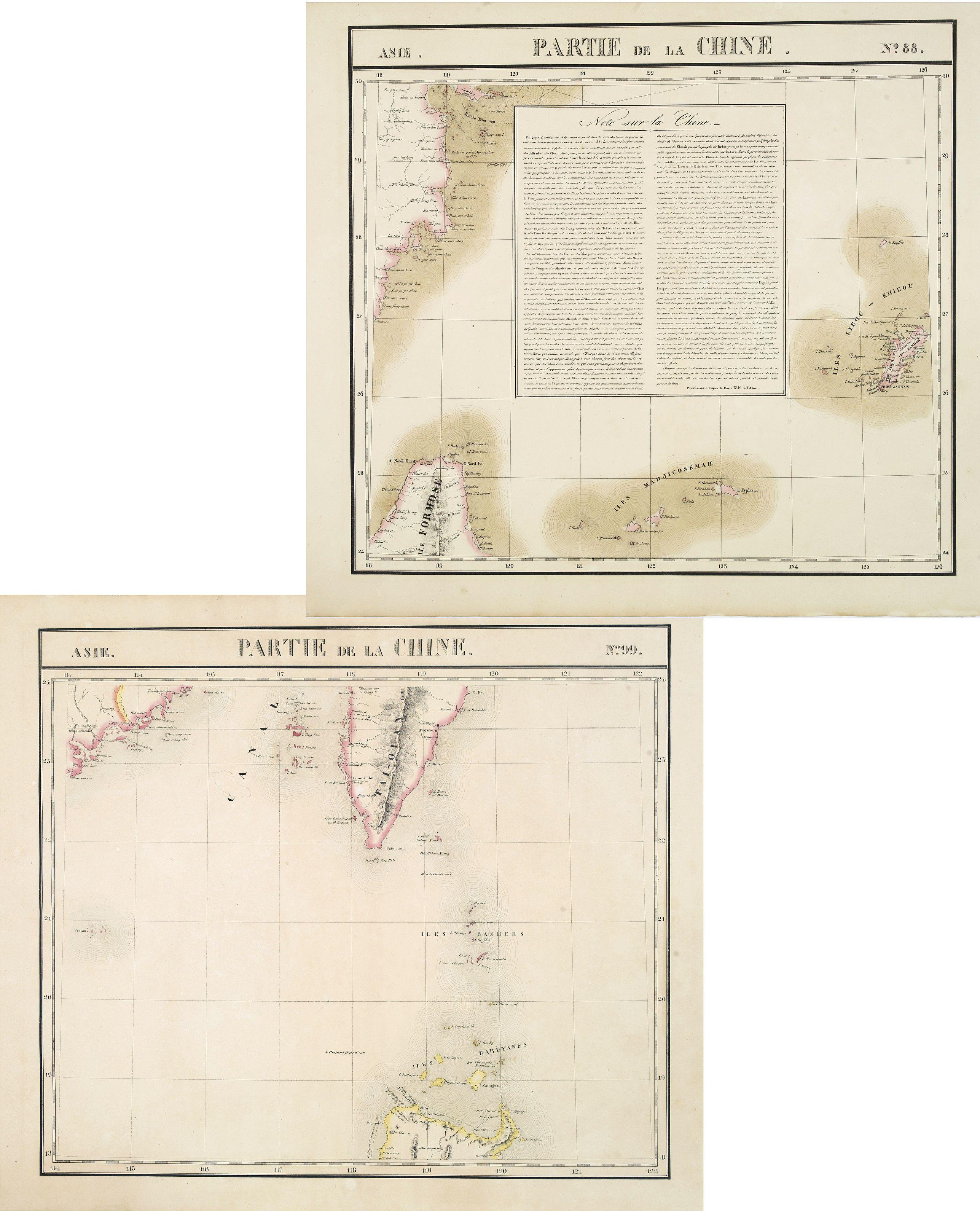 VANDERMAELEN, Ph. -  [2 sheets] Partie de la Chine. N°.88, 99.