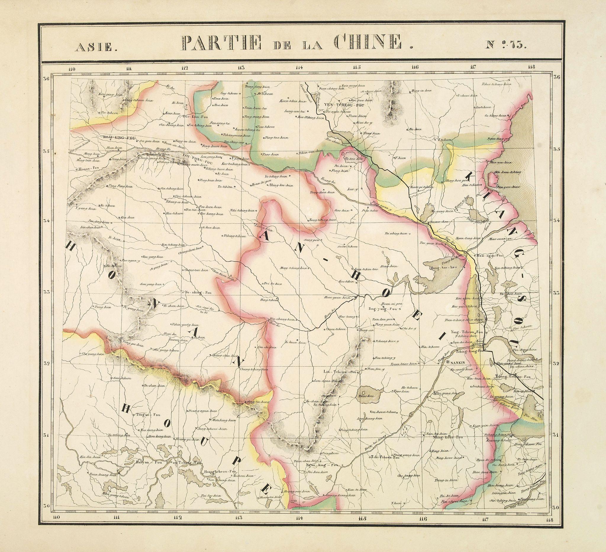 VANDERMAELEN, Ph. - Partie de la Chine N°73. (Covers parts of Hubei, Henan, Anhui, Jiangsu, Shanxi and Shandong provinces.)