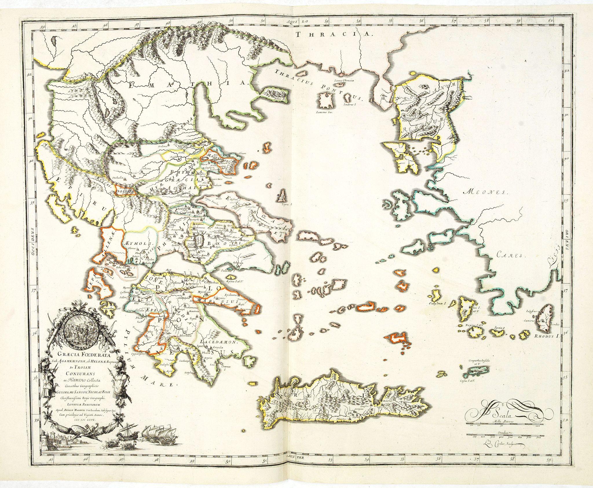 SANSON, N. / MARIETTE, P. -  Graecia Foederata sub Agamemnone, ob Helenae Raptum in Troiam coniurans . . .