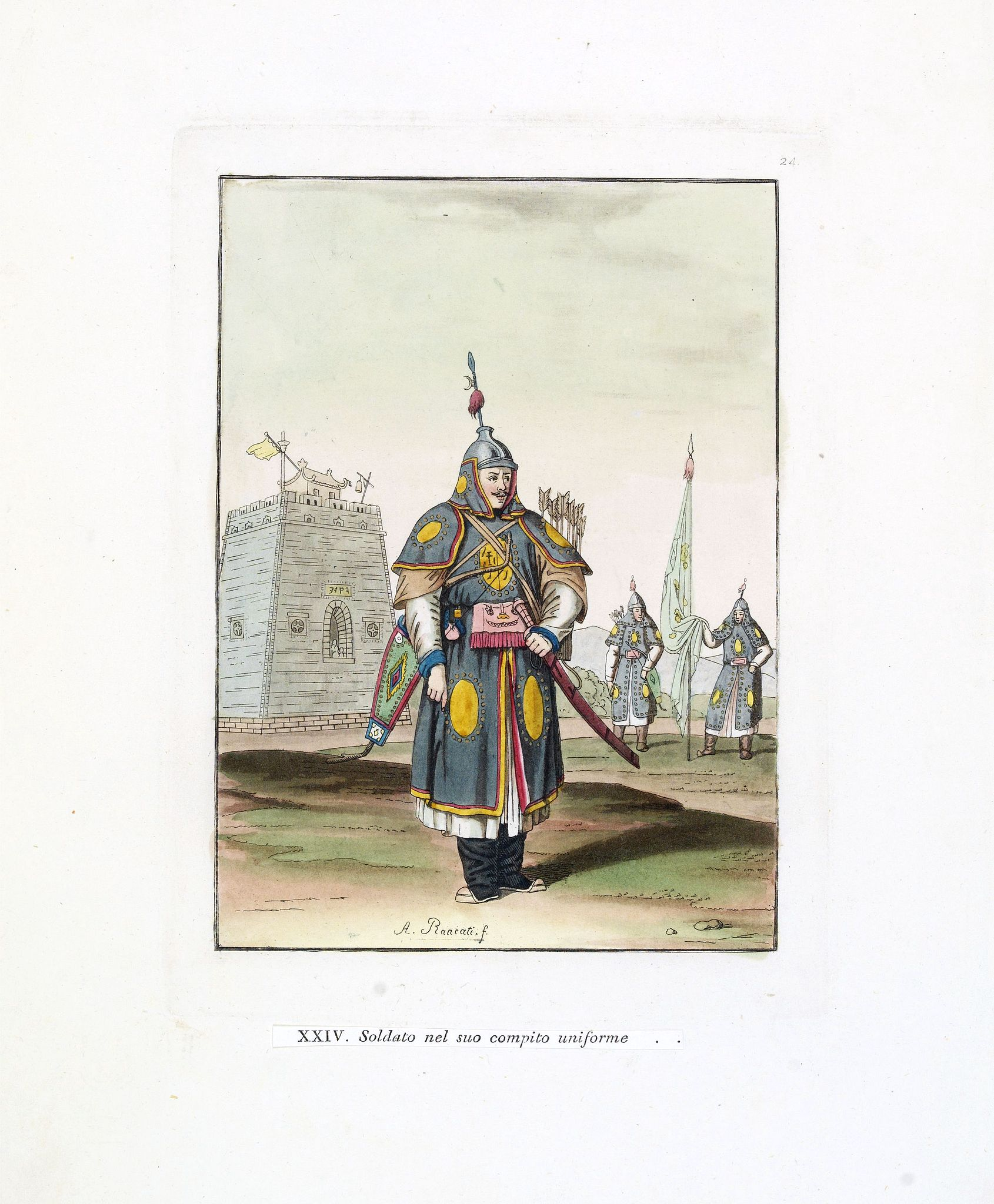 FERRARIO, G. / RANCATI, A.,  Soldato nel suo compito uniforme (Chinese soldier in full battle dress), antique map, old maps
