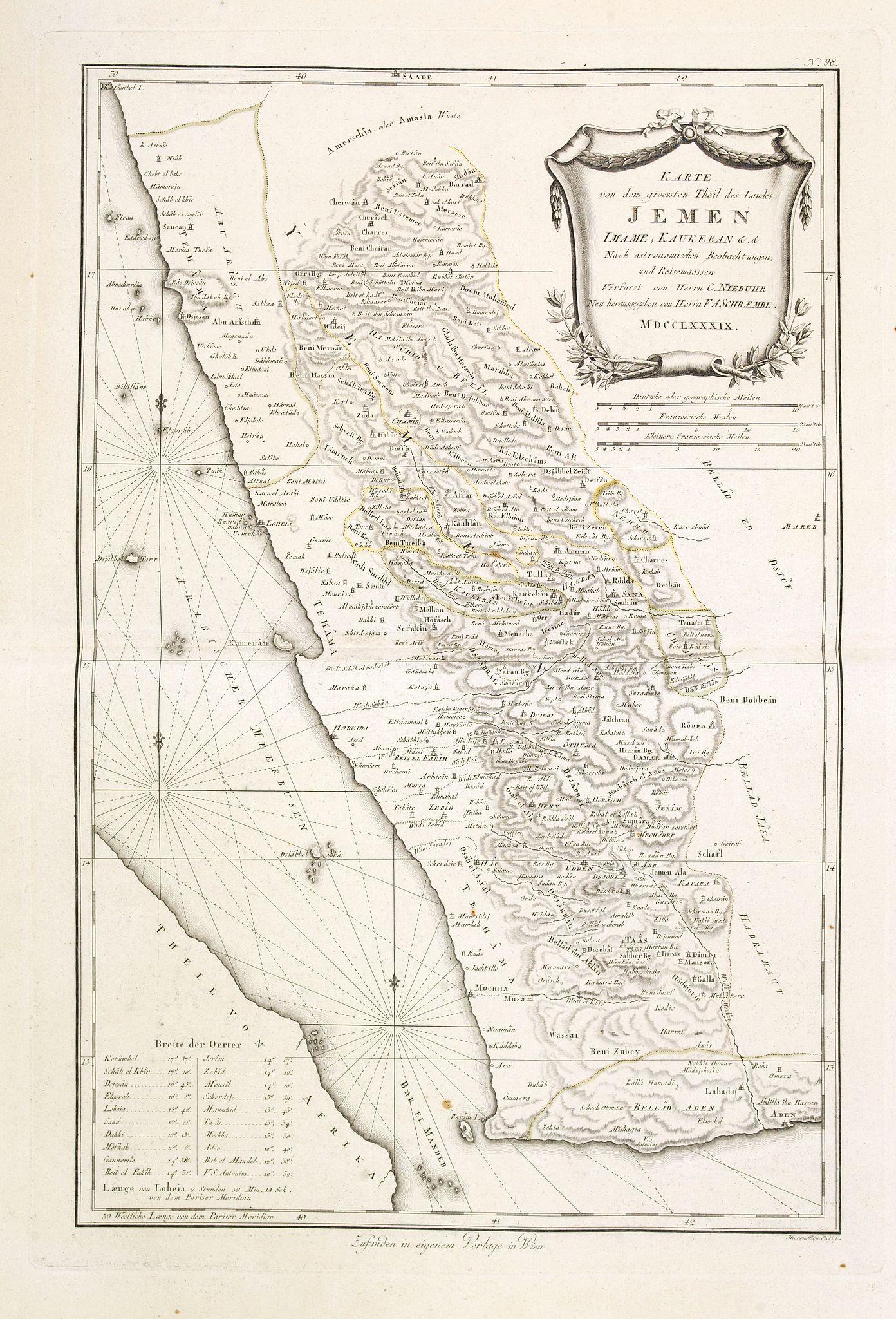 SCHRAEMBL, F.A. -  Karte von dem groessten Theil des Landes Jemen Imame, Kaukeban &c.