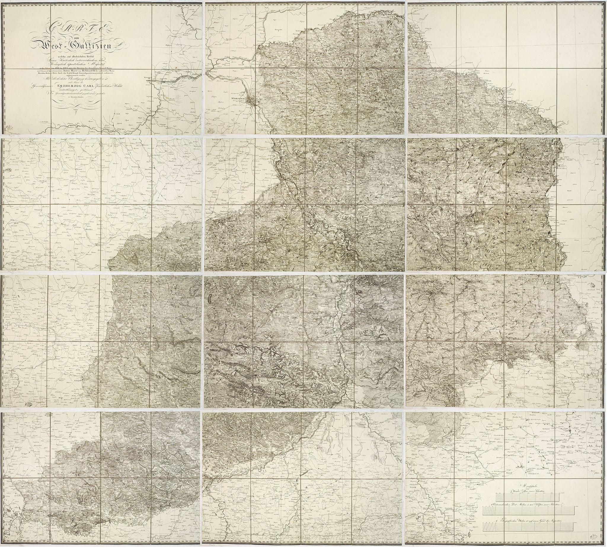 VON HELDENSFELD, A. M. / BENEDICTI. -  Carte von West=Gallizien welche auf allerhöchsten Befehl Seiner Kaiserlich oesterreichischen und Königlich apostolischen Majestät in den Jahren 1801 bis 1804. . .