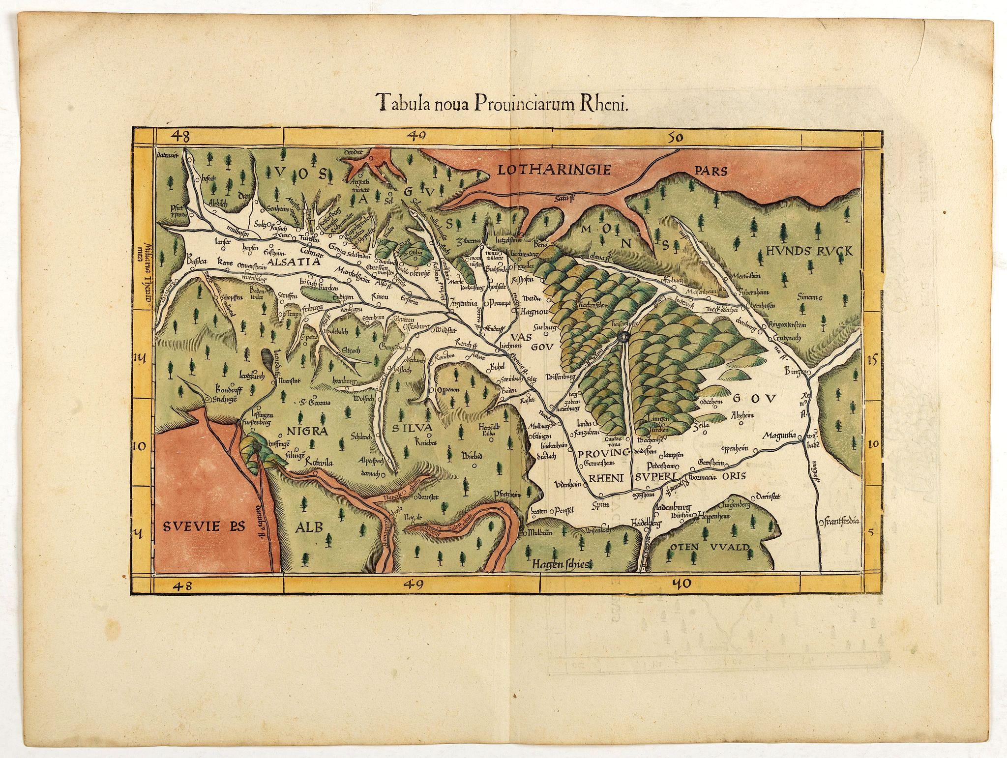 WALDSEEMÜLLER, M. / FRIES, L. -  Tabula Provinciarum Rheni.