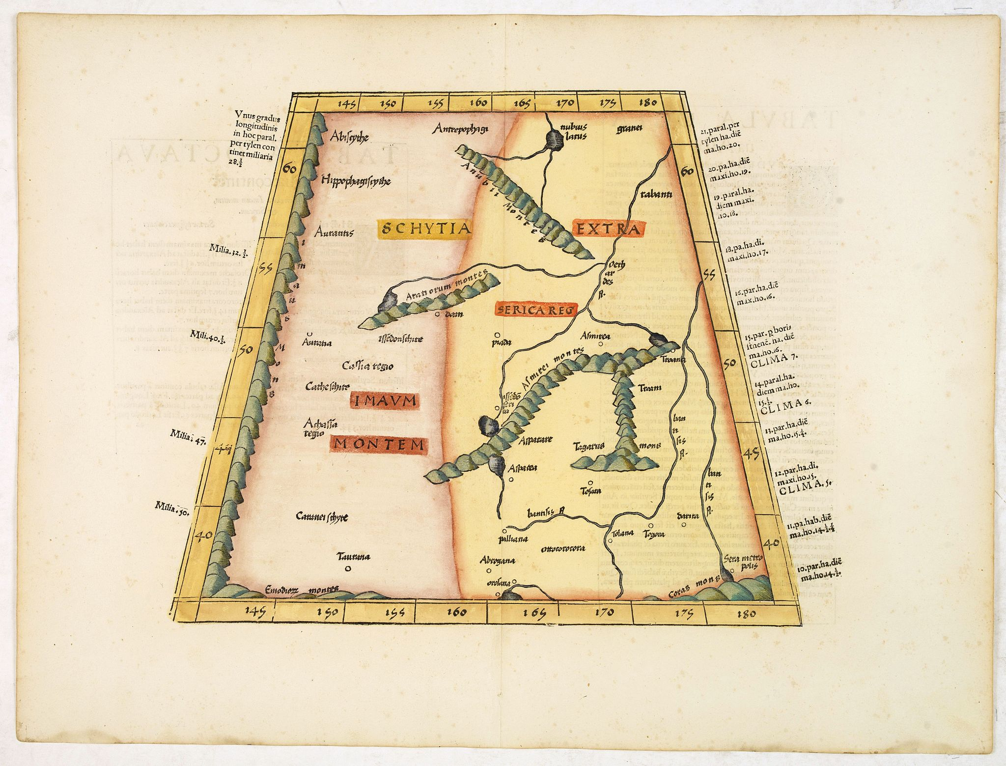 PTOLEMY,C ./ TRECHSEL, G.,  [India and China], antique map, old maps