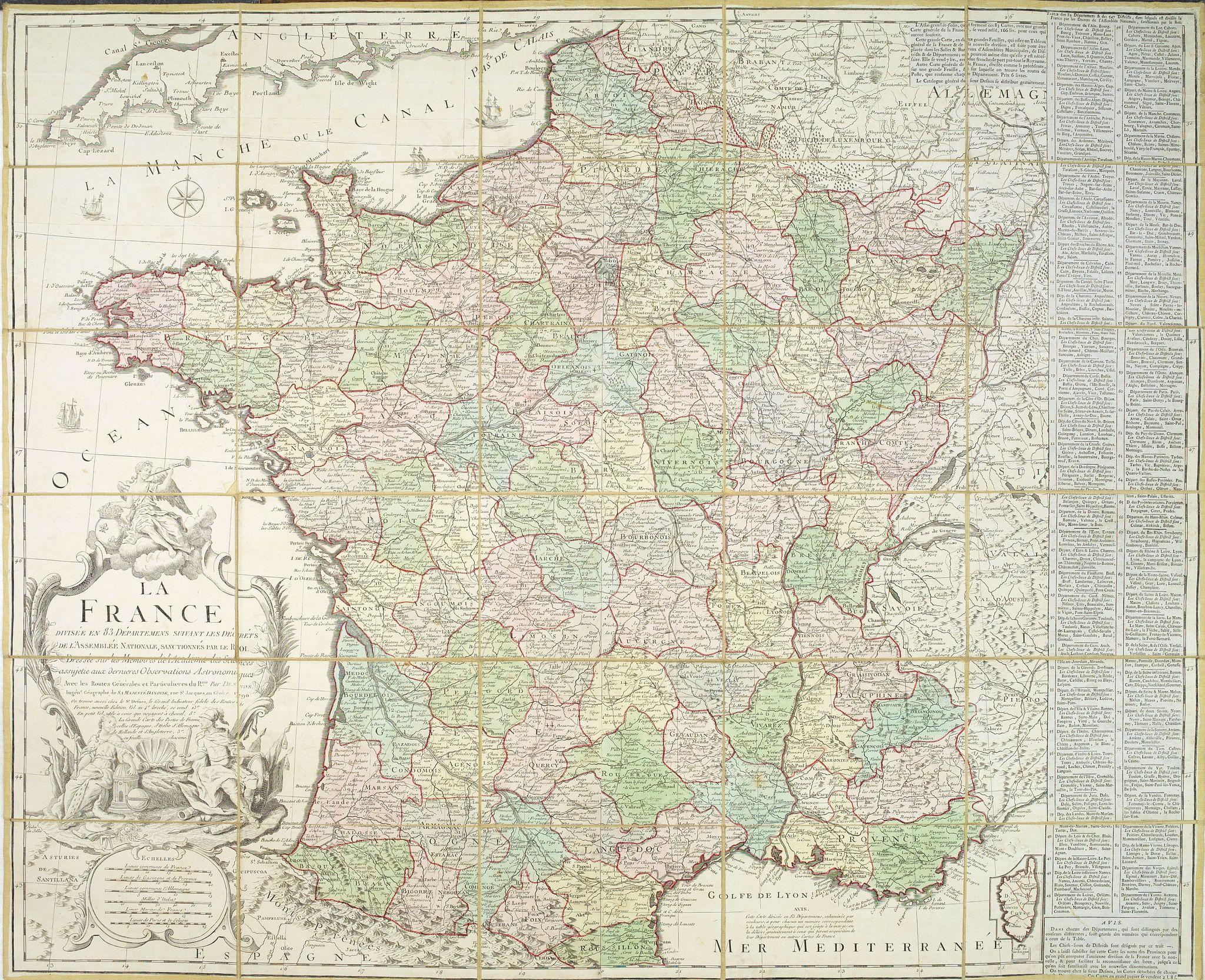 DESNOS. -  La France Divisée en 83 Départements suivant les décrets de l