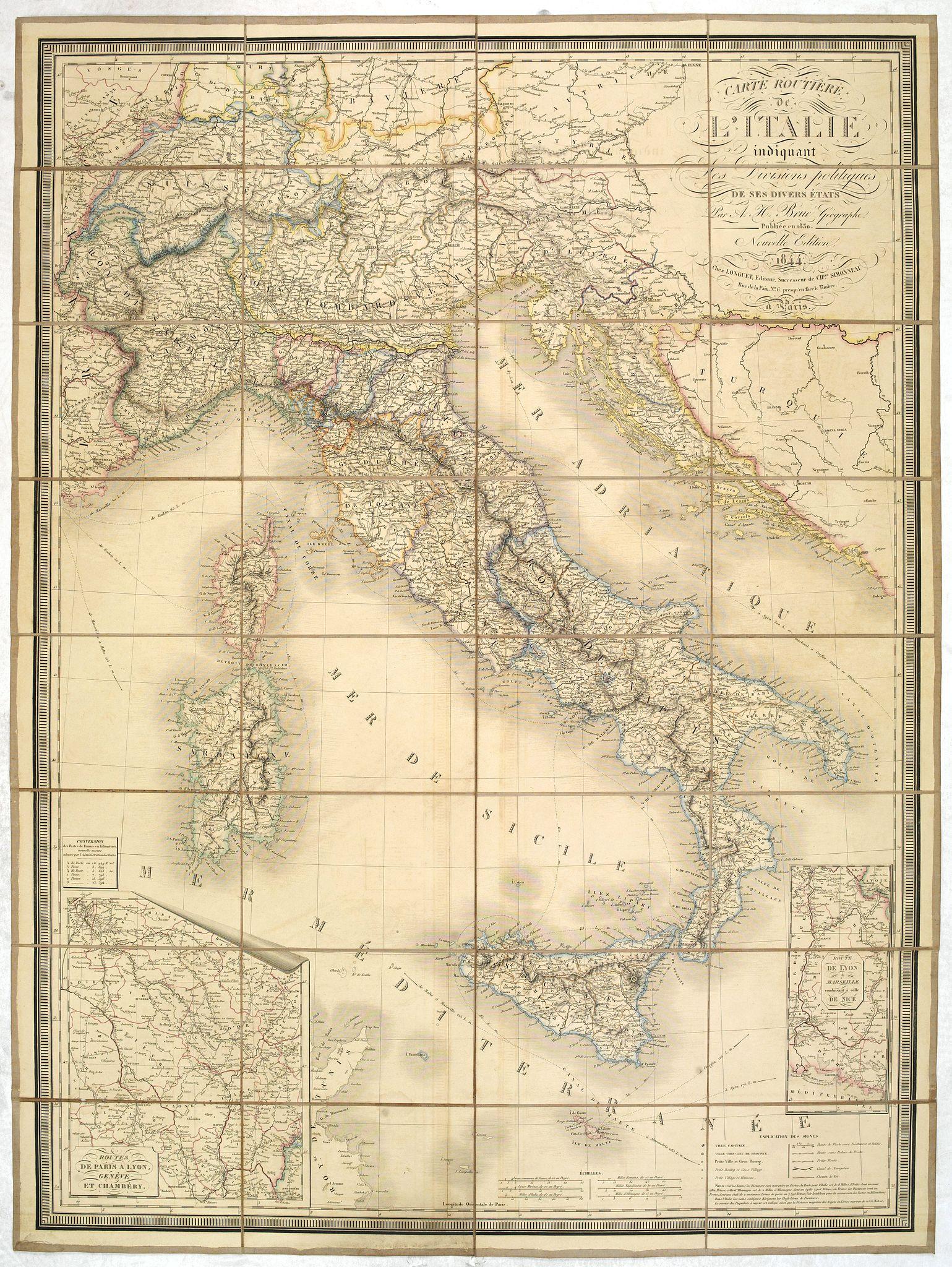 BRUE, A.H. -  Carte routiére d'Italie indiquant les divisions politiques de ses divers états . . .