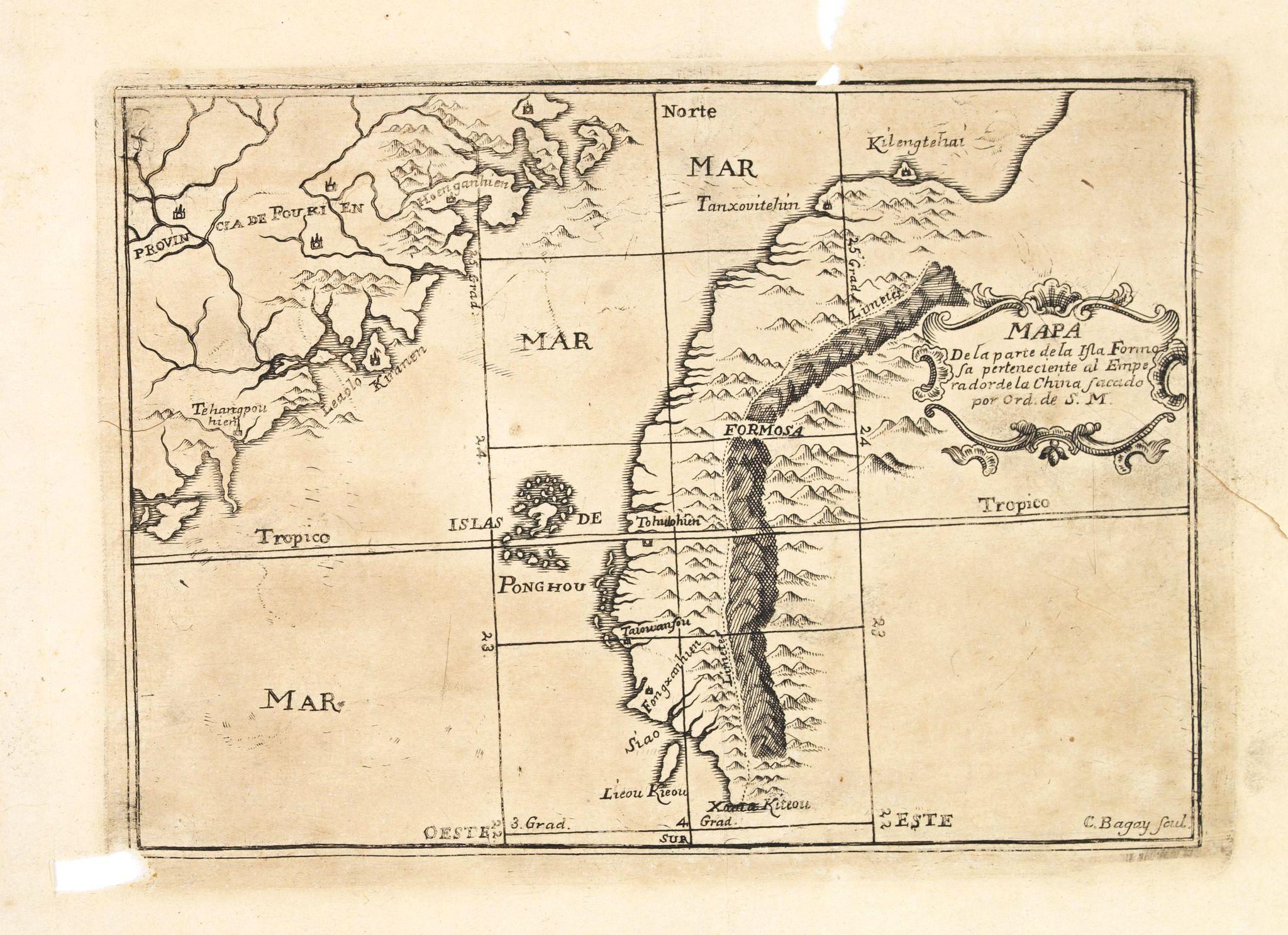 DE LA CONCEPTION, J. -  Mapa De la parte de la Isla Formosa sa perteneciente al Emperadotde la China sacado por Ord. De S.M.