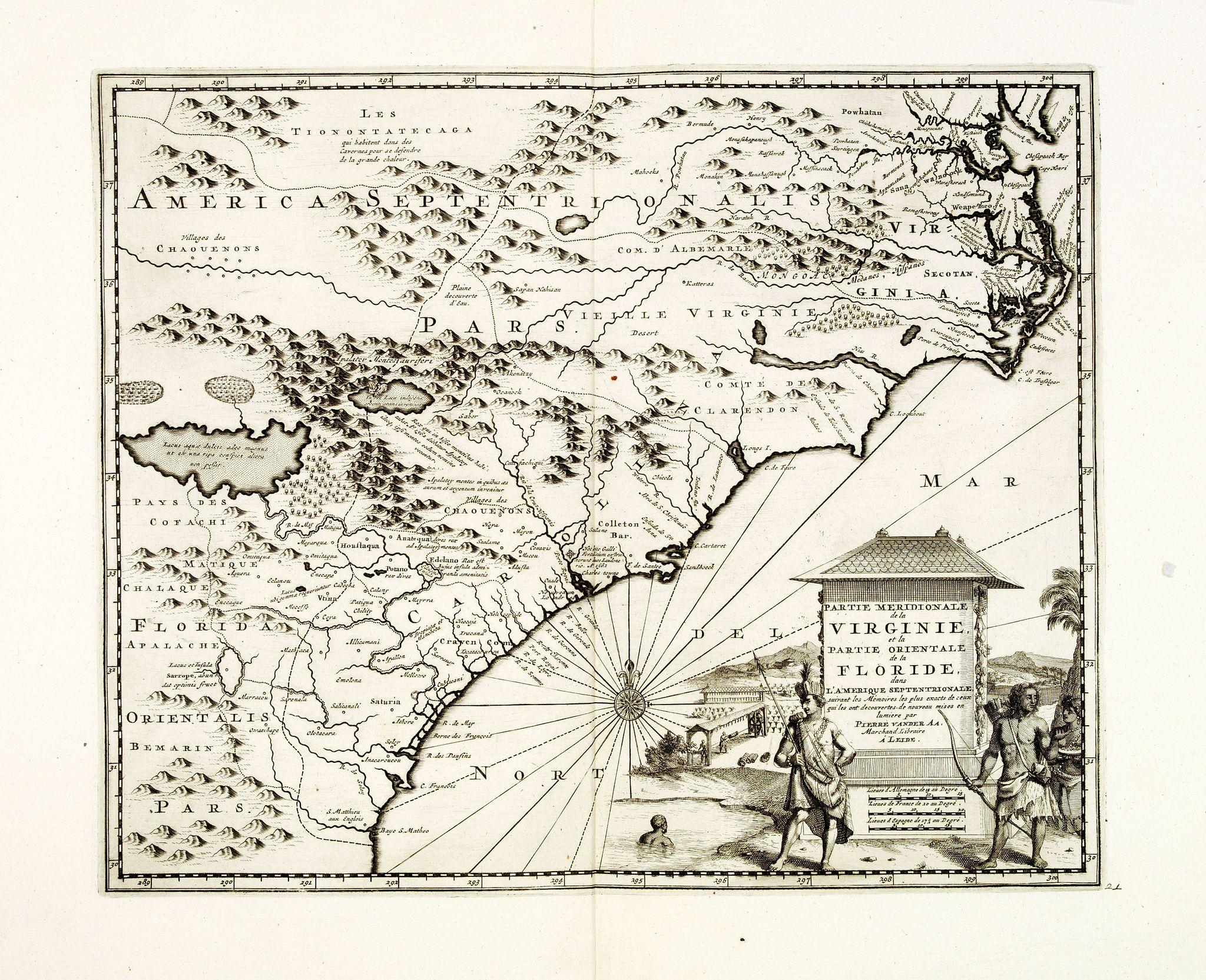 VAN DER AA, P. -  Partie Meridionale de la Virginie et la .. Floride dans L'Amerique septentrionale ..