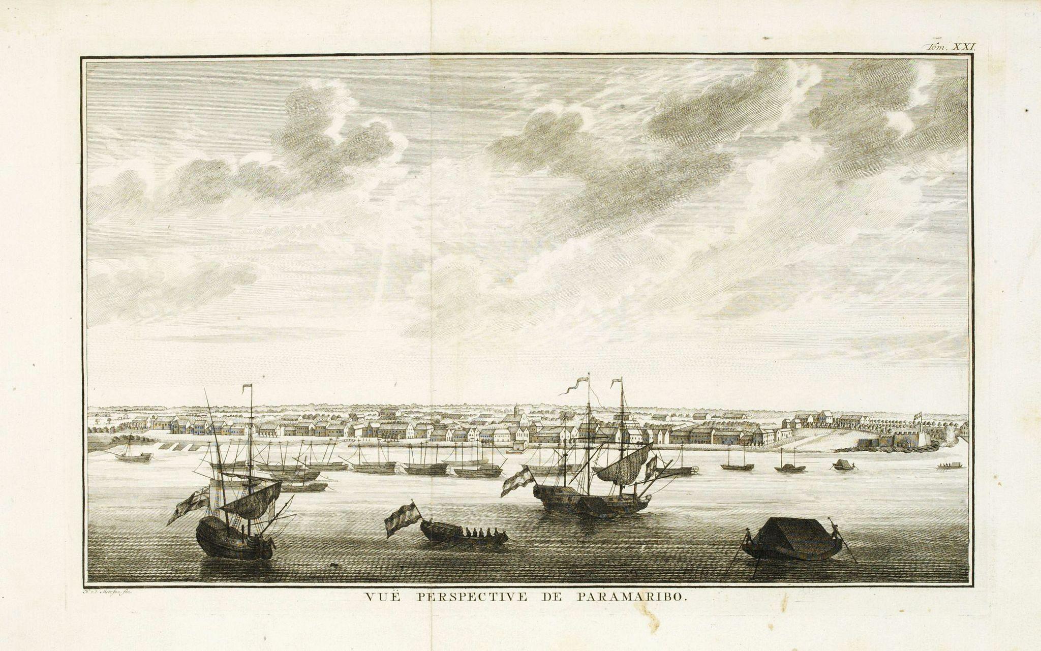 PREVOST D'EXILES, A.F. -  Vue de la Rade et de la Ville de Paramaribo.