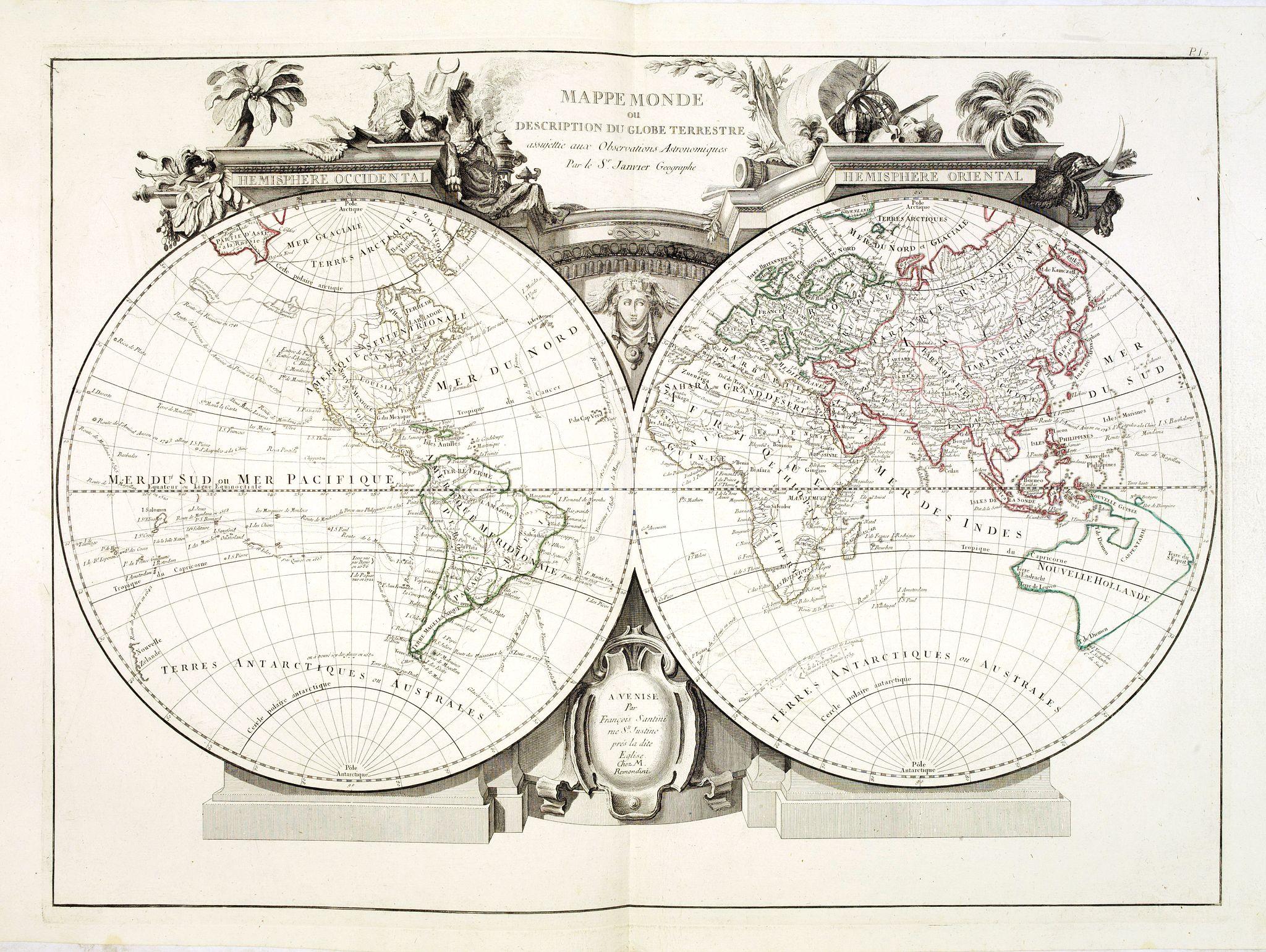 SANTINI, P. / REMONDINI, M. -  Mappemonde ou Description du Globe. . .