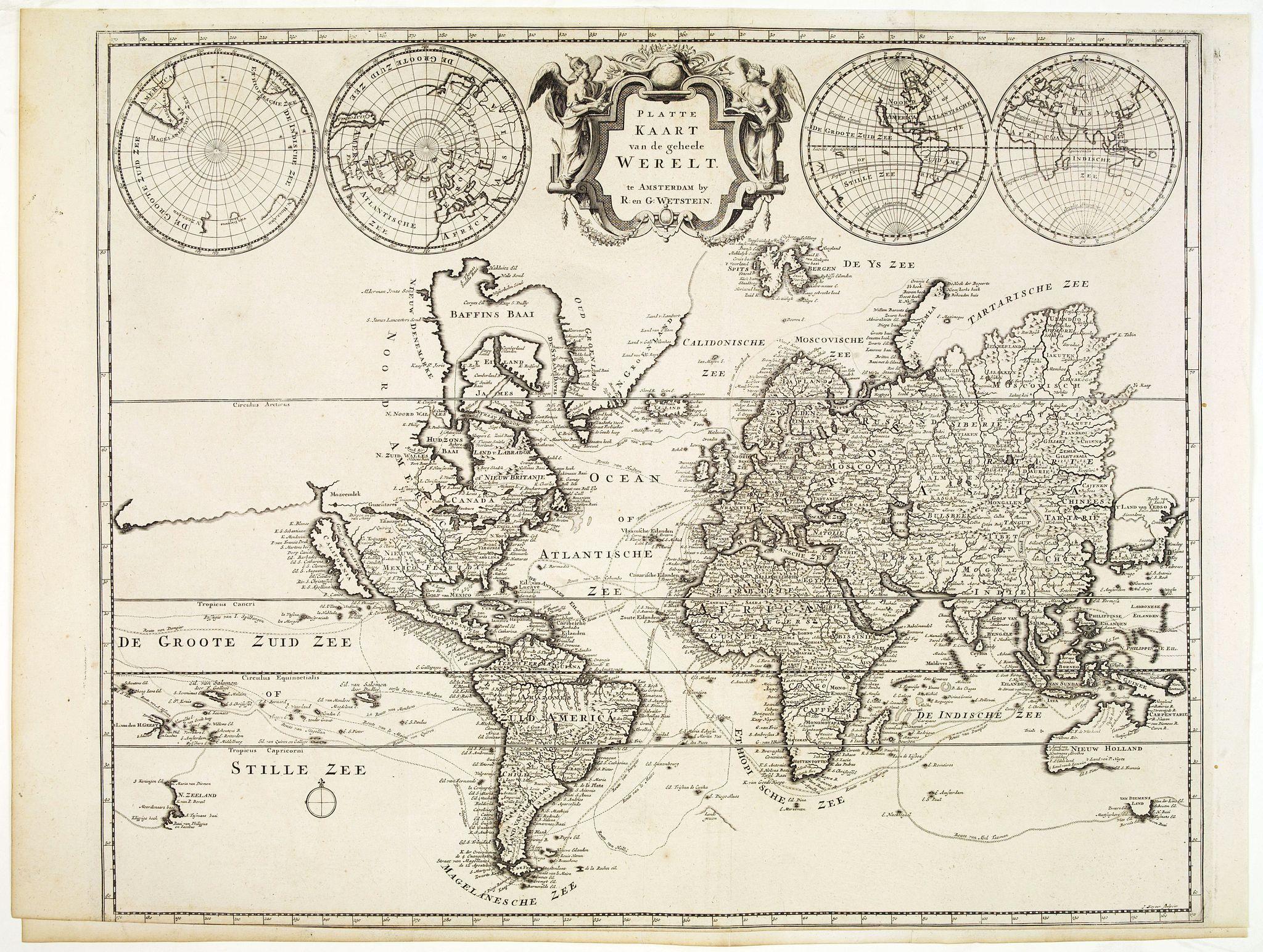 WETSEIN, R / G. - Platte Kaart van de geheele Werelt.