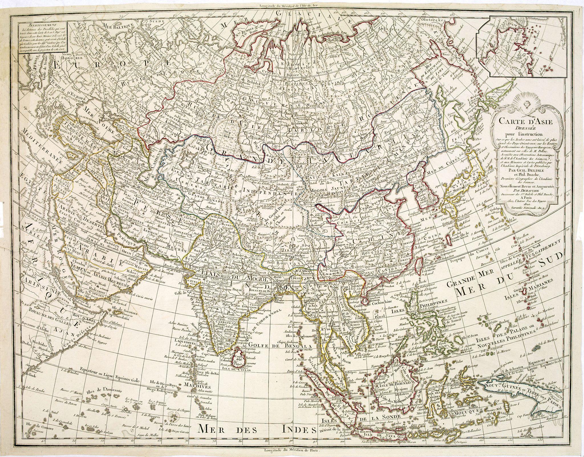 DELISLE, G. / DEZAUCHE, J. A. -  Carte de Asie dresse´e pour l'instruction . . . par Guil. Delisle et Phil. Buache … nouvellement revue et augmentee´ par Dezauche.