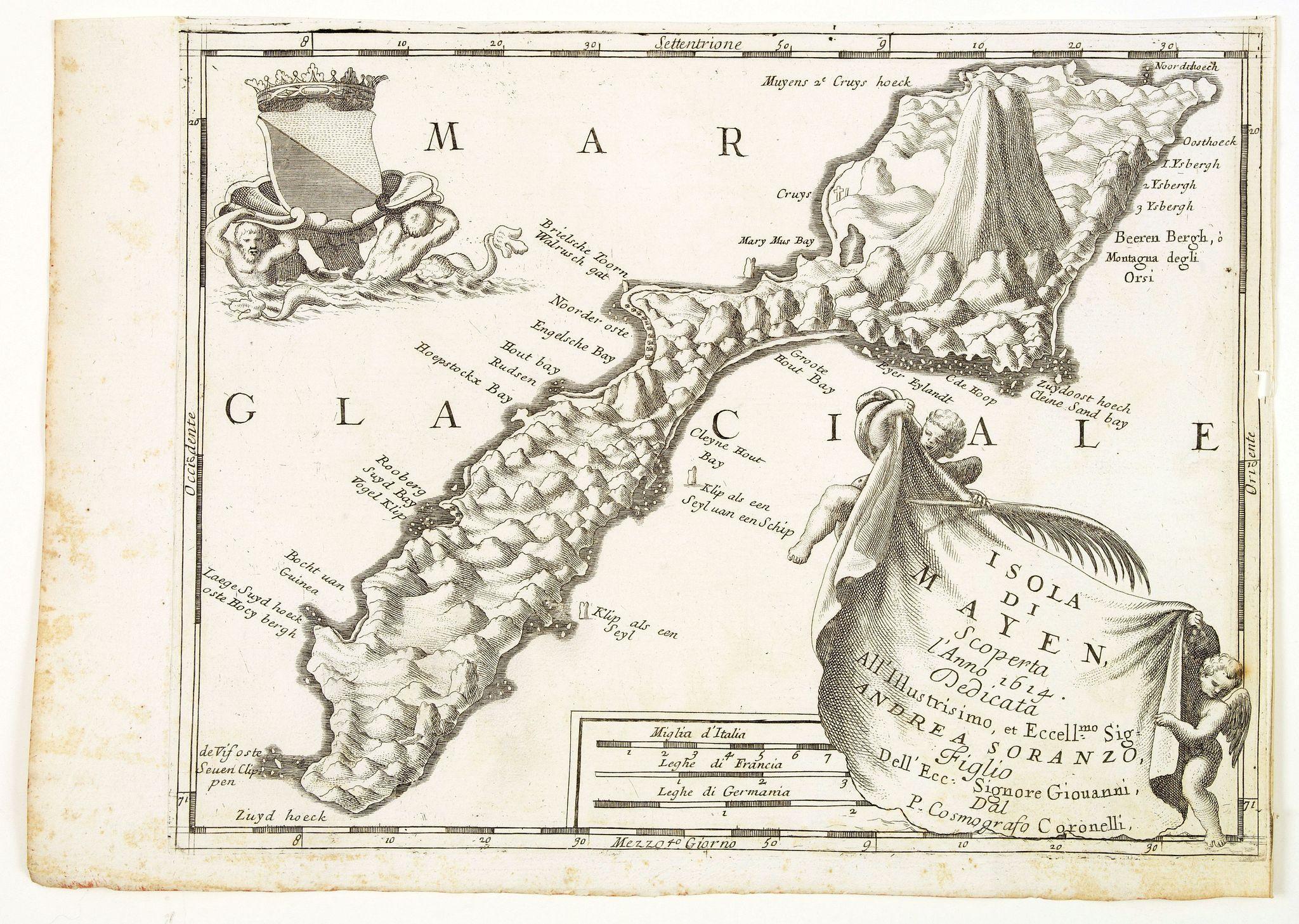 CORONELLI, V.M. -  Isola Di Mayen Scoperta l'Anno 1614 . . .