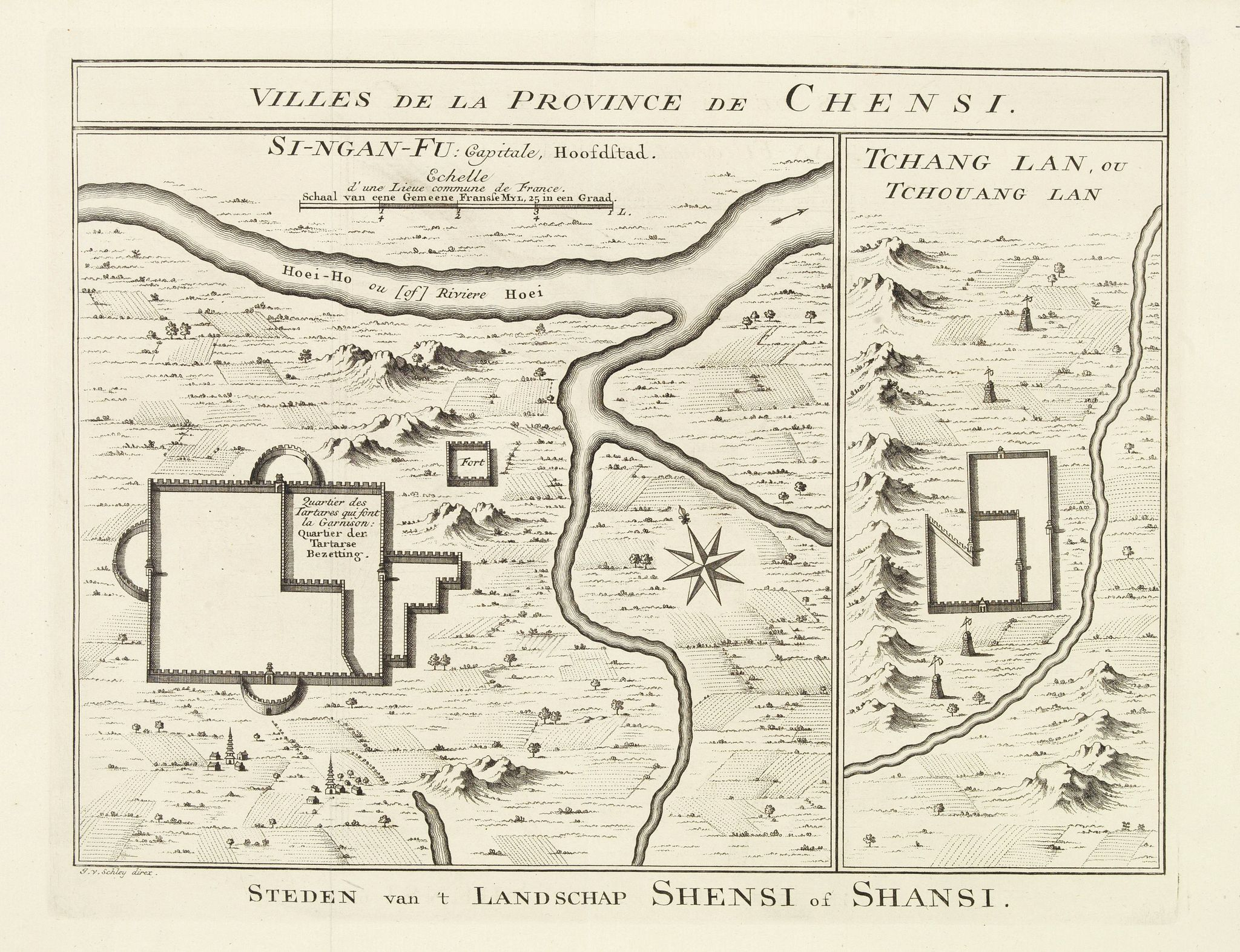 BELLIN, J.N.,  Villes de la Province de Chensi. Steden van't Landschap Shensi of Shansi., antique map, old maps