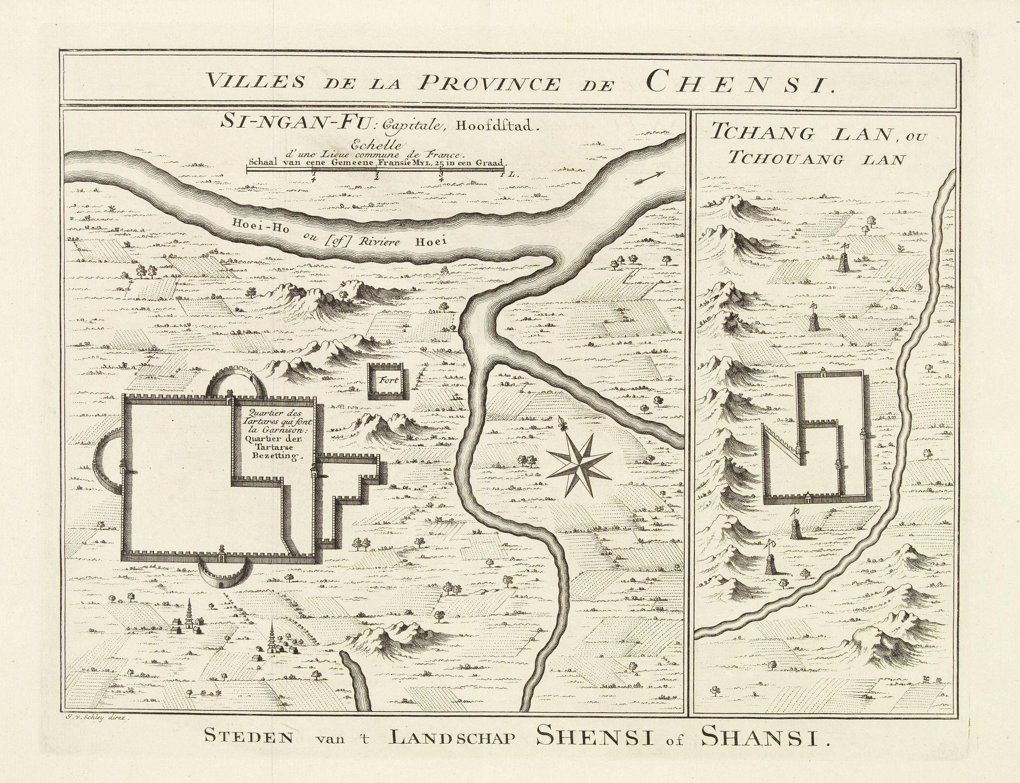 BELLIN, J.N. -  Villes de la Province de Chensi. Steden van't Landschap Shensi of Shansi.