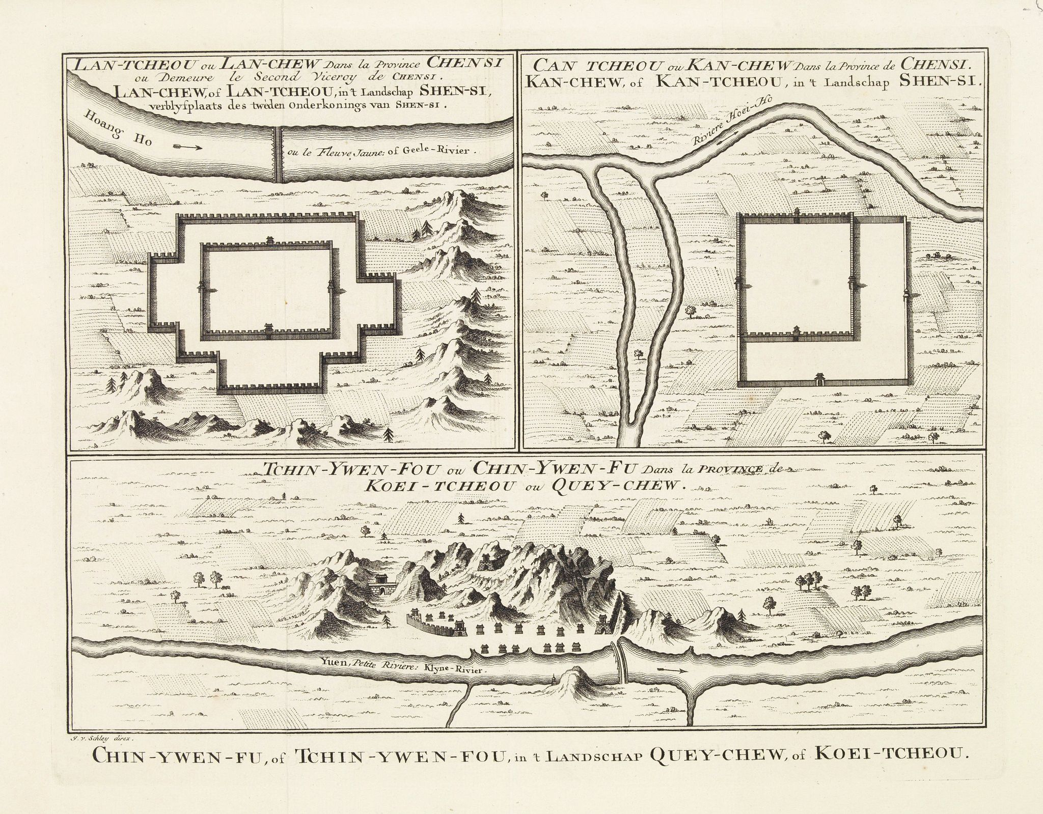 BELLIN, J.N.,  Tchin-Ywen-Fou (...). Chin-Ywen-Fu, (...), in't Landschap Quey-Chew, of Koei-Tcheou., antique map, old maps