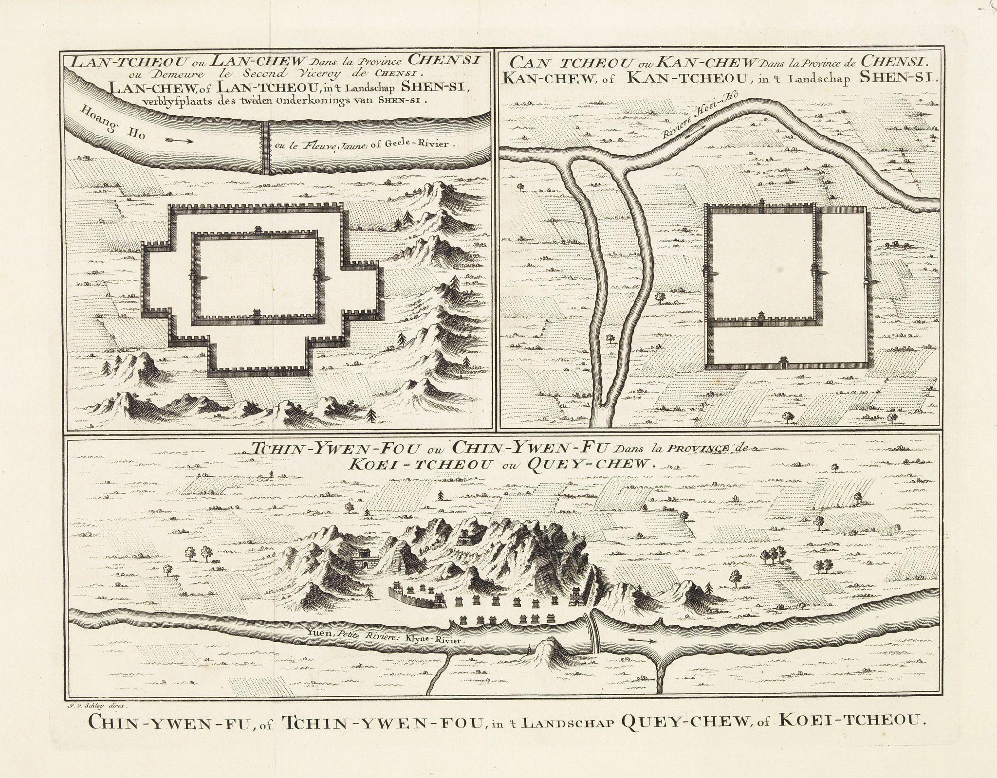 BELLIN, J.N. -  Tchin-Ywen-Fou (...). Chin-Ywen-Fu, (...), in't Landschap Quey-Chew, of Koei-Tcheou.