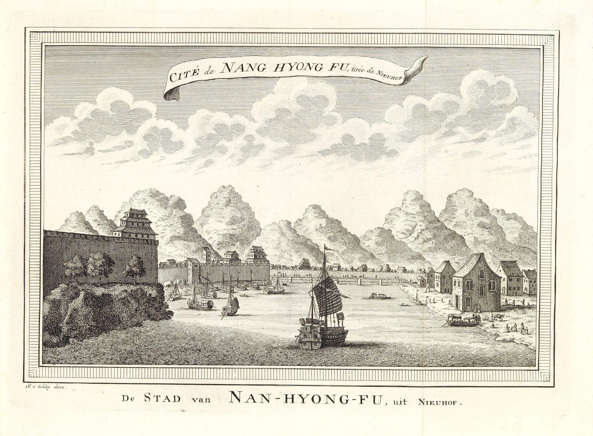 BELLIN, J.N. -  Cité de Nang Hyong Fu, tiree the Nieuhof. De Stad van Nan-Hyong-Fu, uit Nieuhof.