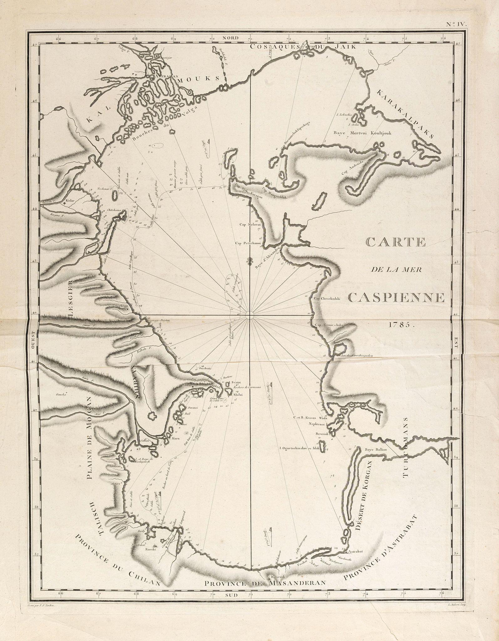 TARDIEU, P.F. -  Carte de la Mer Caspienne 1785.