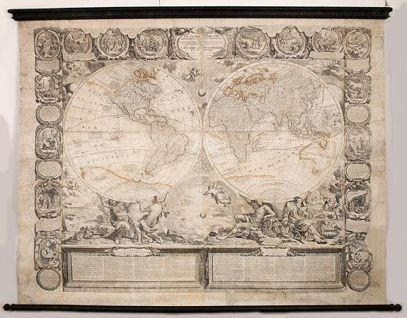 NOLIN, J.-B. / CREPY. -  Le globe terrestre representé en deux plans-hemispheres, Dressé sur la Projection de Mr. De la Hyre…