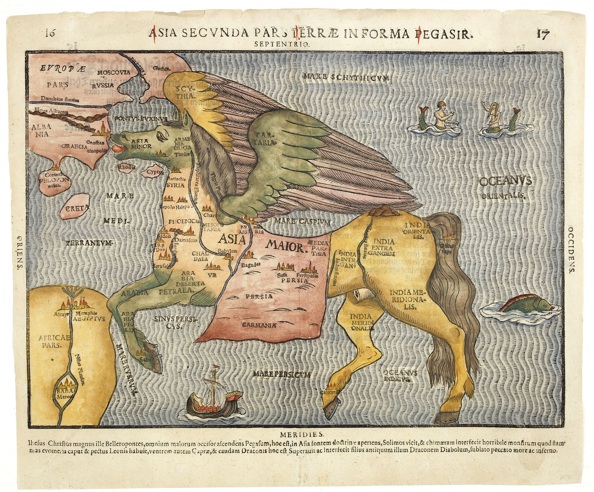 BÜNTING, H.,  Asia secunda pars terrae in forma Pegasi., antique map, old maps