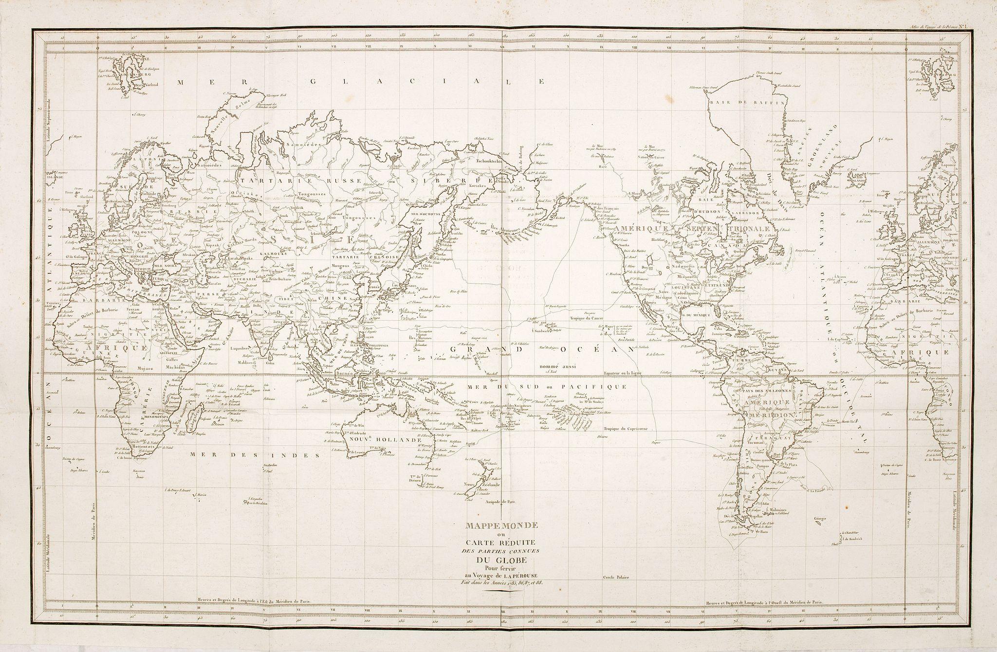 LA PEROUSE, J-F. de -  Mappemonde ou carte réduite des parties connues du globe.
