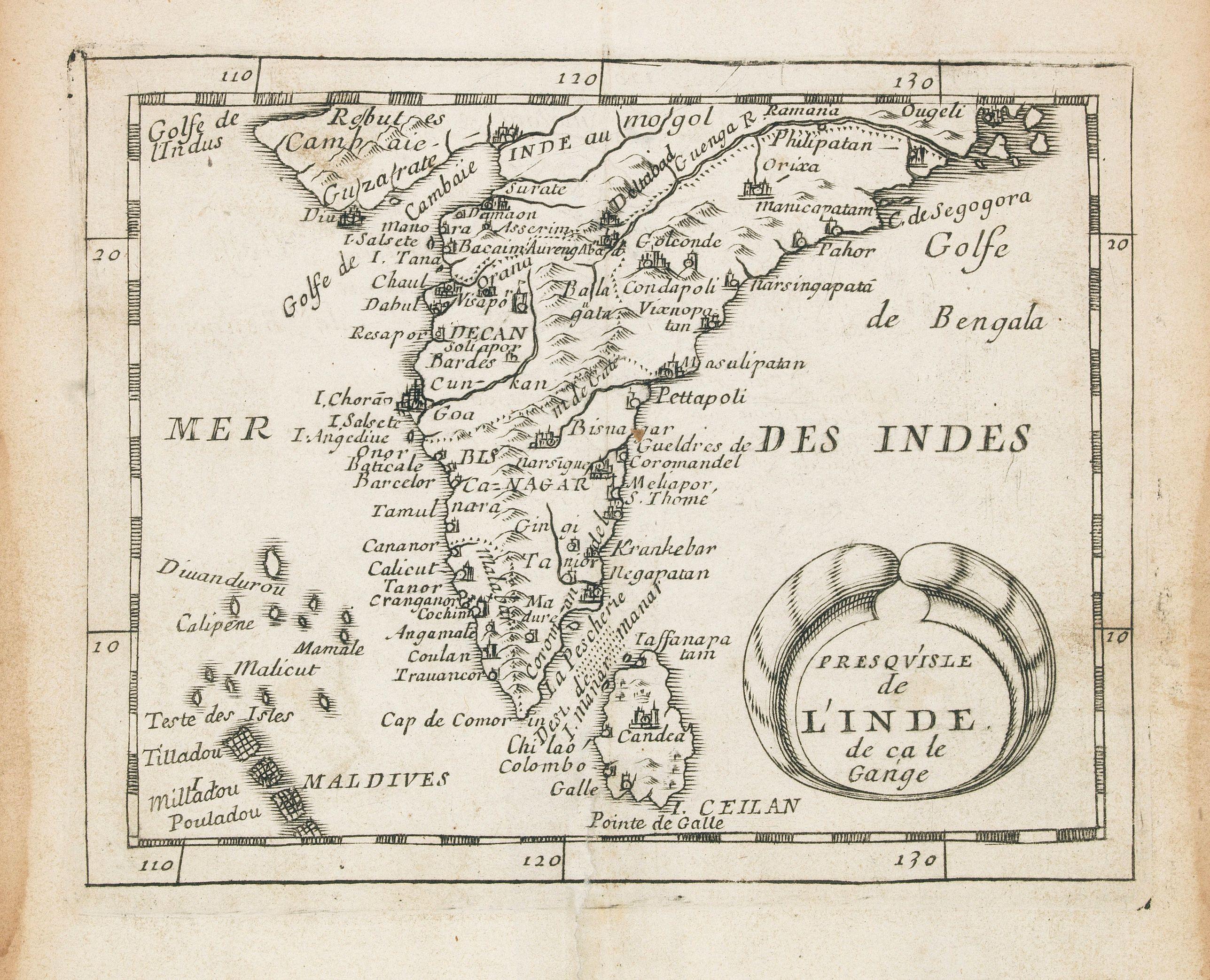 Carte De Linde De Lest.Old Map By Du Val Presqu Isle De L Inde De Ca Le Gange