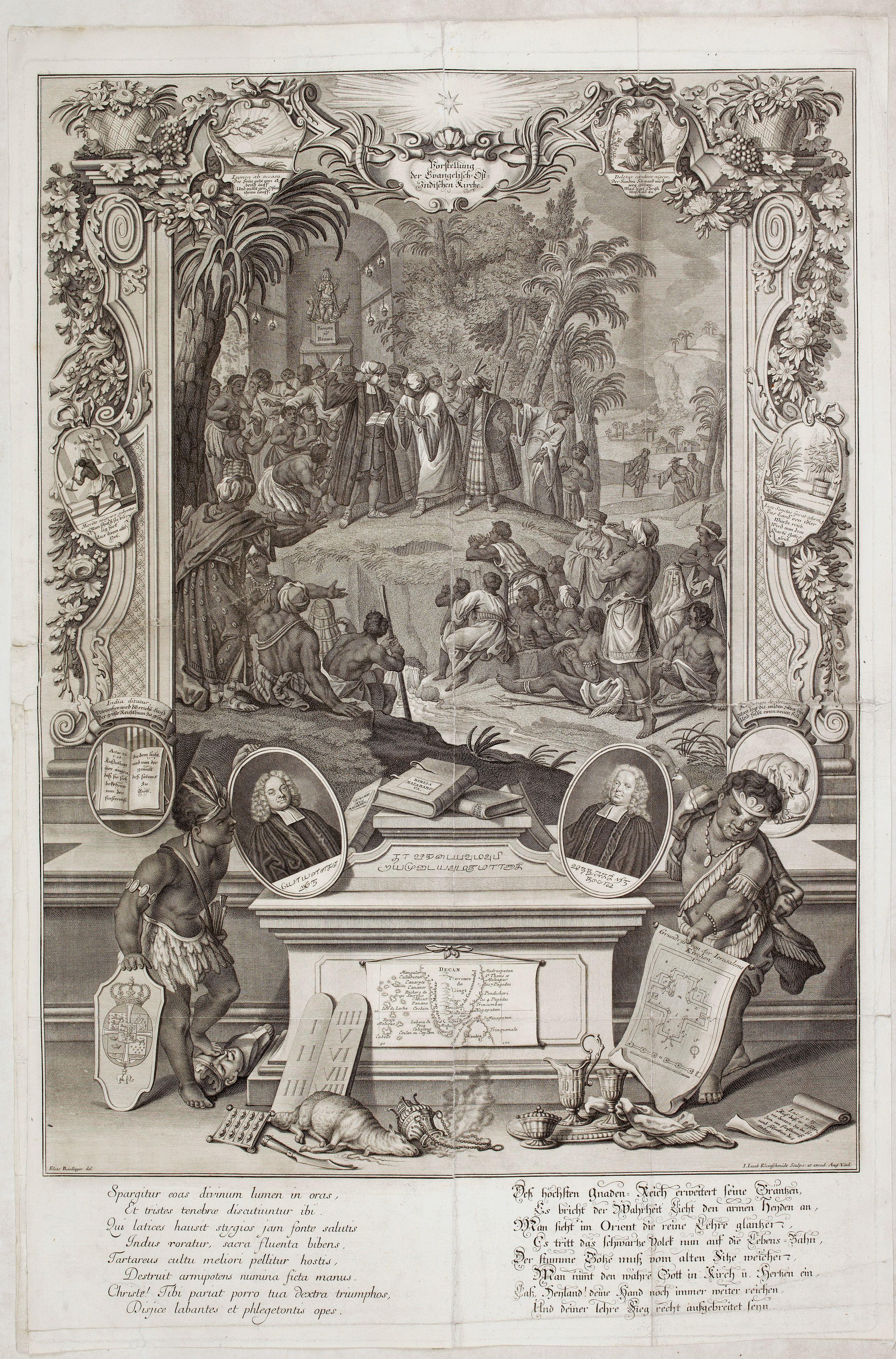 RIDINGER, J. -  Vorstellung der Evangelisch-Ostindischen Kirche Augsburger Protestanten.