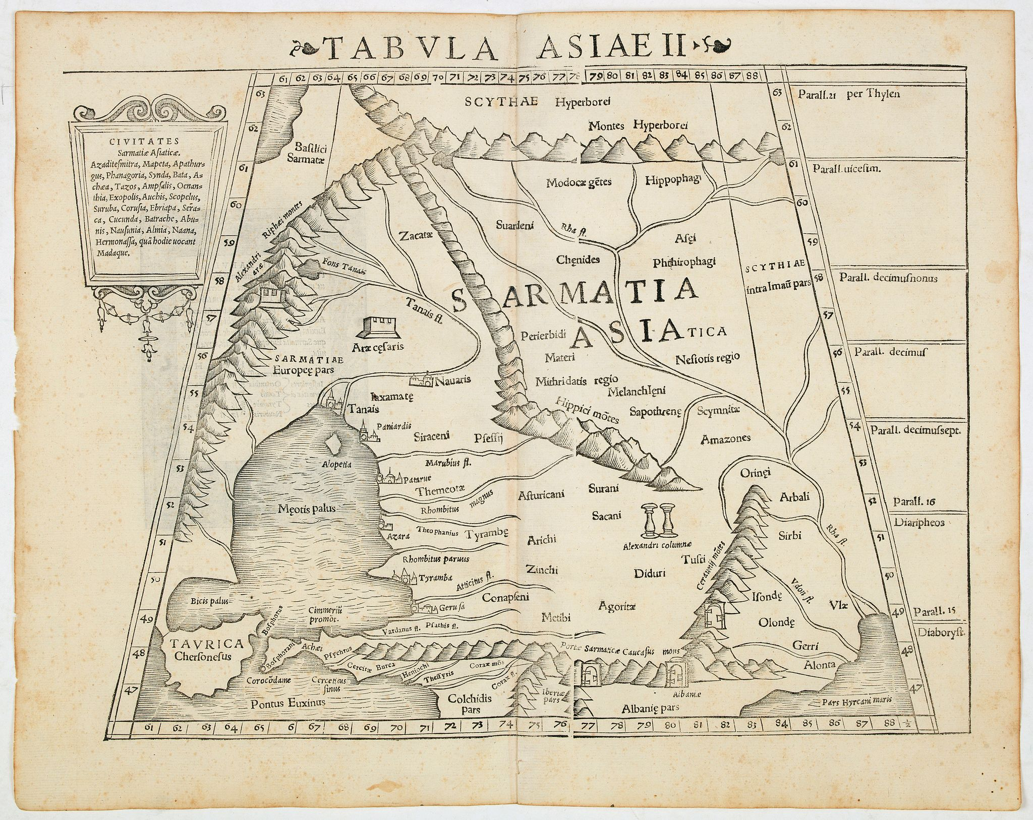 MÜNSTER, S.,  Tabula Asiae II (Black Sea and Caspian Sea), antique map, old maps
