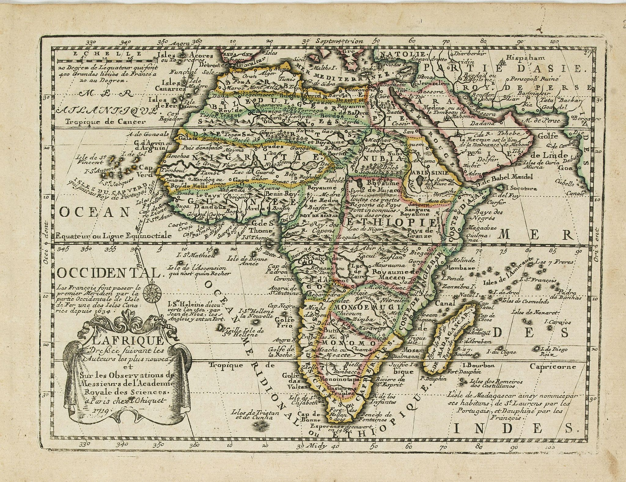 CHIQUET, J. -  L' Afrique Dressee suivant les Auteurs les plus nouvea. . .