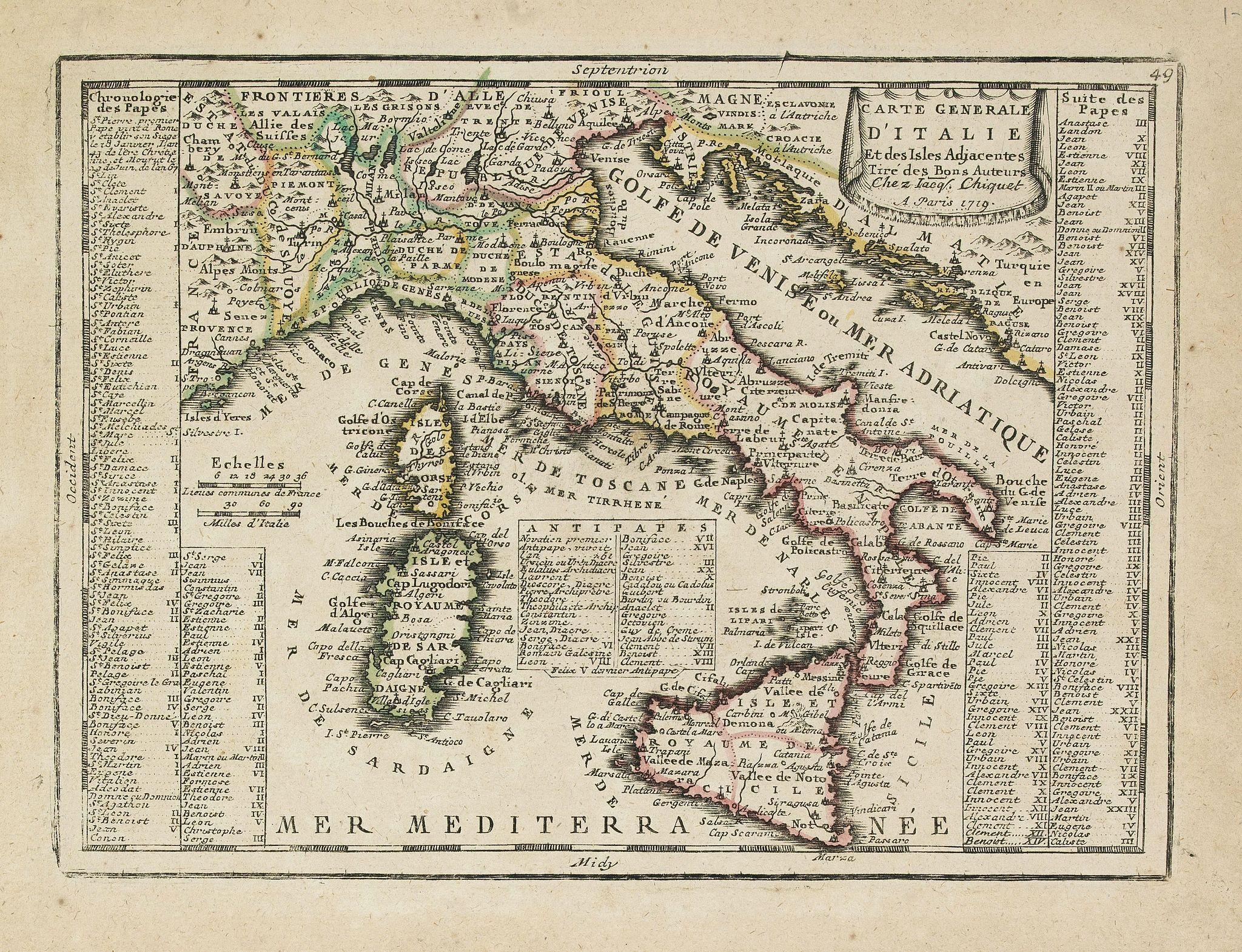 CHIQUET, J. -  Carte Generale D'Italie Et des Isles Adjacentes. . .