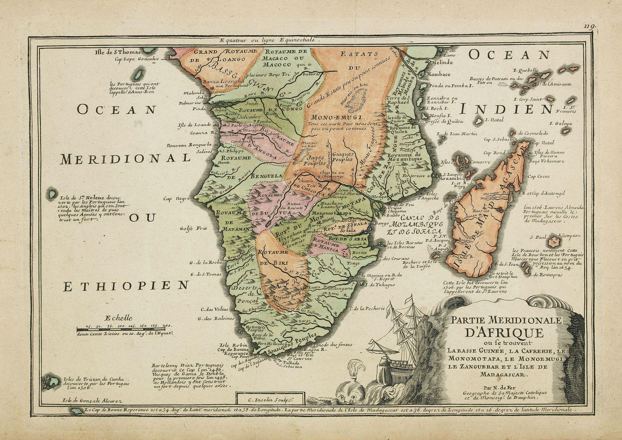 DE FER, N. -  Partie méridionale d'Afrique où se trouvent la Basse Guinée, la Cafrerie, le Monomotapa, le Monoemugi, le Zanguebar et l'isle de Madagascar