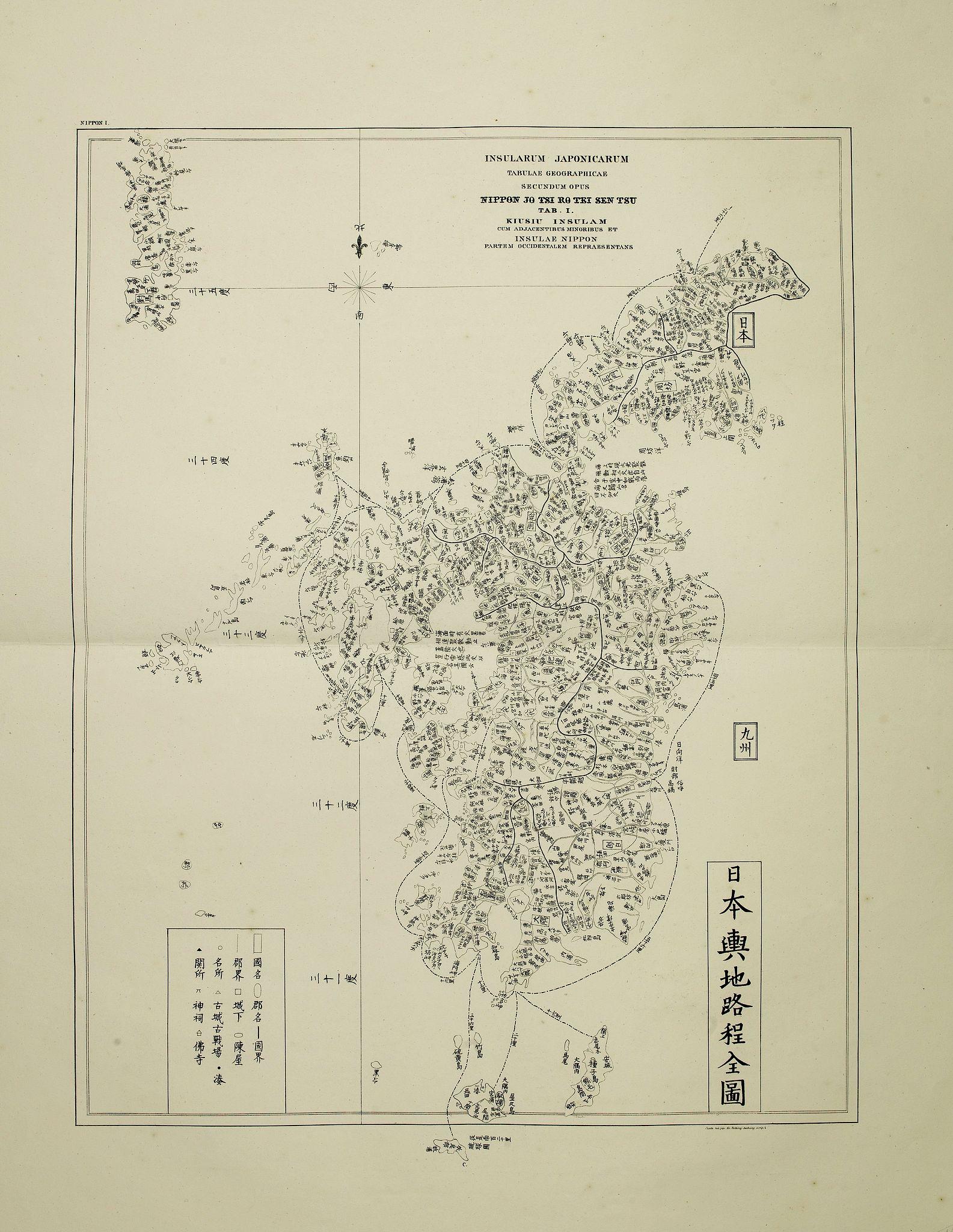 VON SIEBOLD, P. Fr. B. -  Insularum Japonicarum tabulae geographicae secundum opus NIPPON JO TSI RO TEI SEN TSU Tab. I Kiusui Insularum. . .